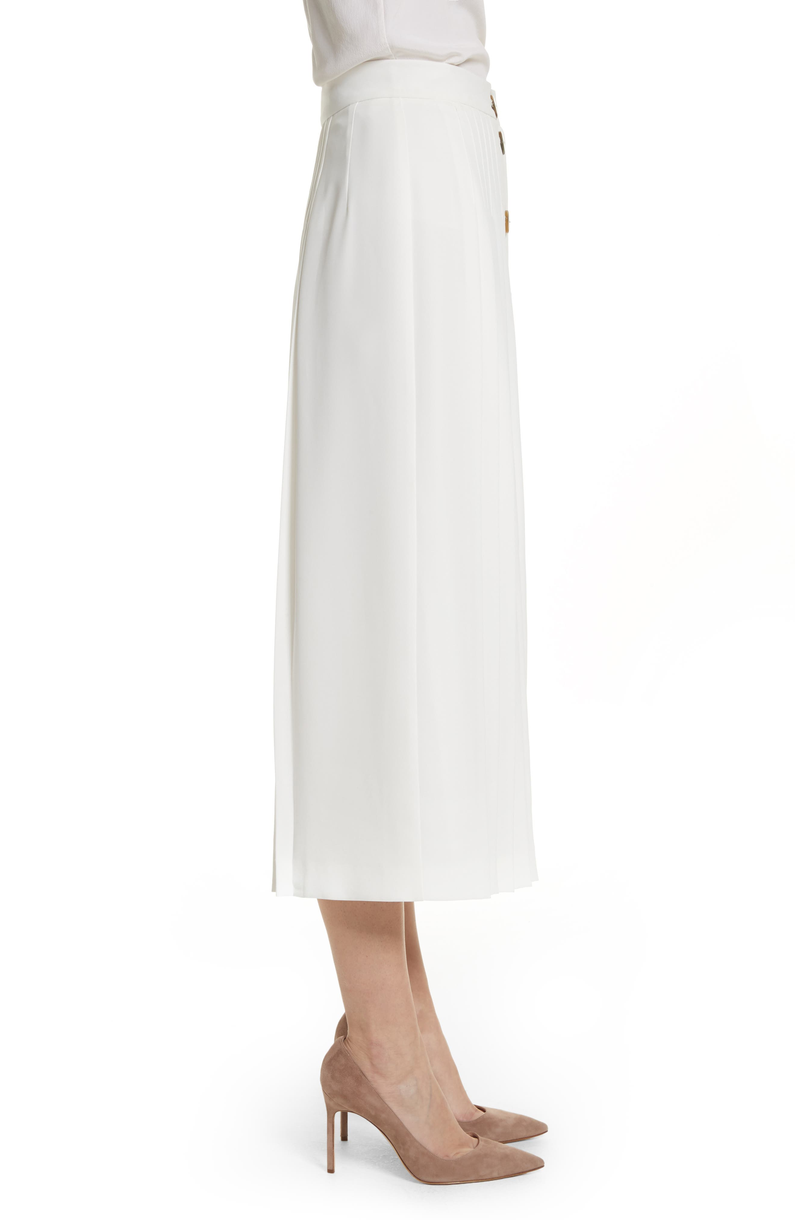 Pleated Button Skirt,                             Alternate thumbnail 3, color,                             White