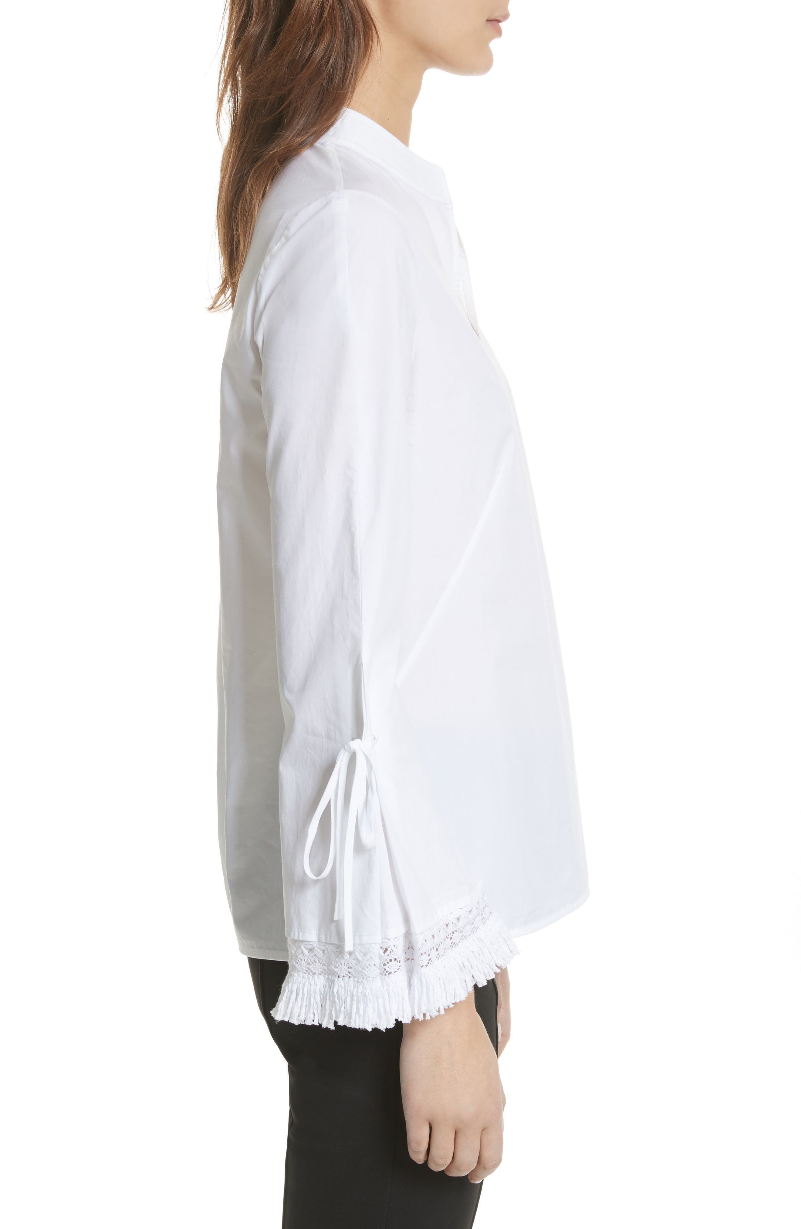 Sophie Tie Sleeve Cotton Blouse,                             Alternate thumbnail 3, color,                             White