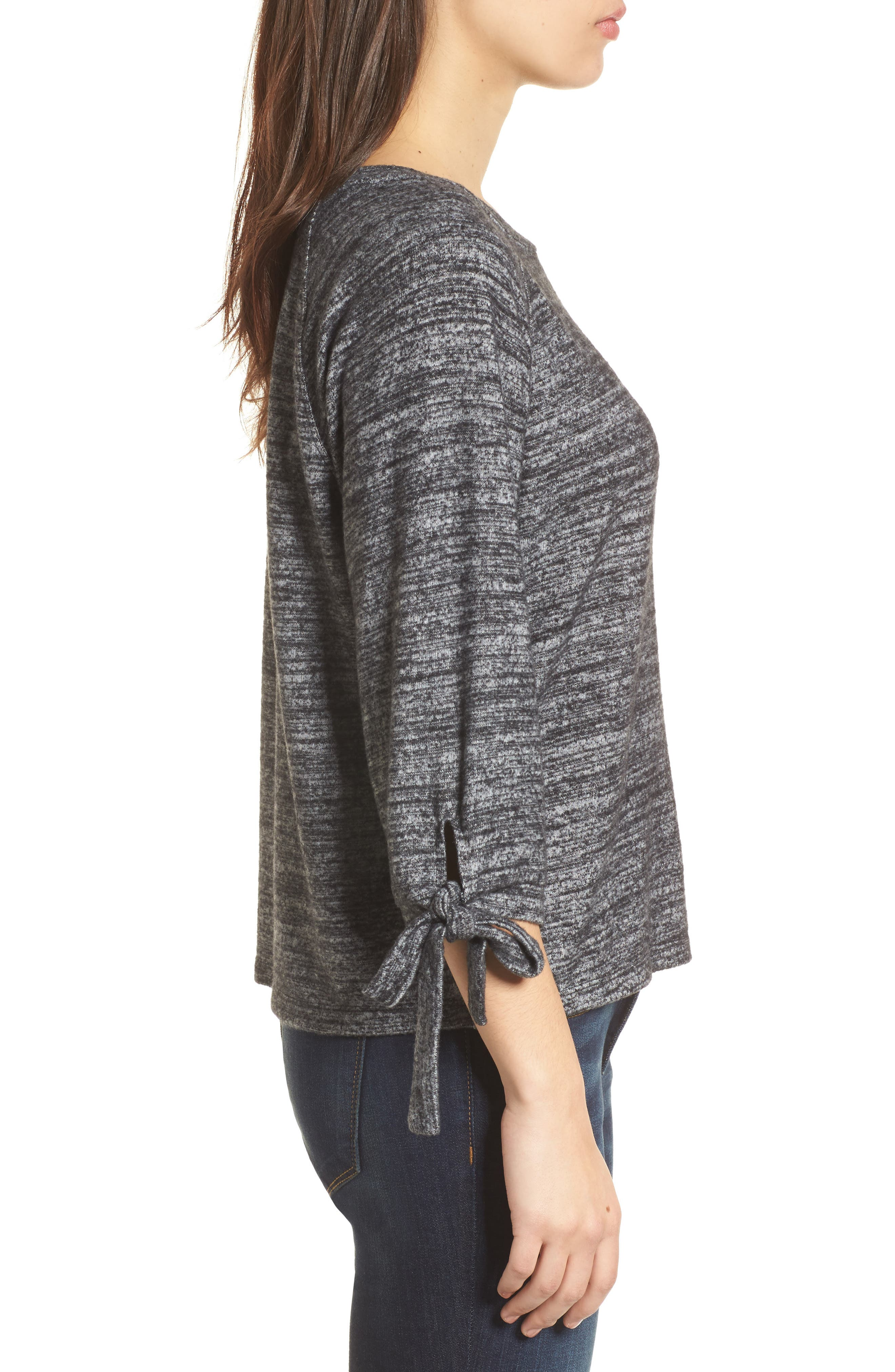Tie Sleeve Jersey Top,                             Alternate thumbnail 3, color,                             Marled