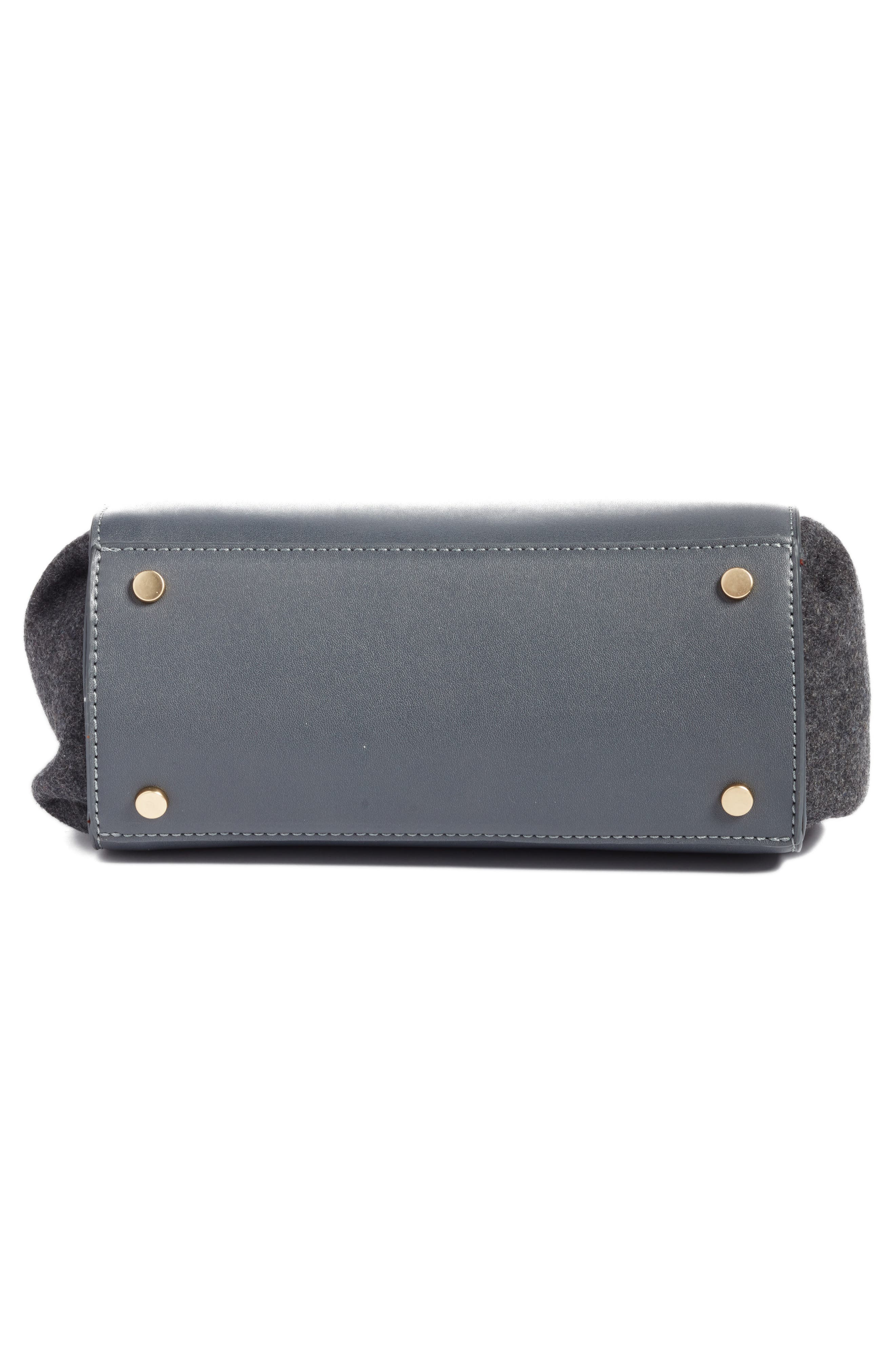 Faux Leather & Flannel Satchel,                             Alternate thumbnail 4, color,                             Black Grey Flannel