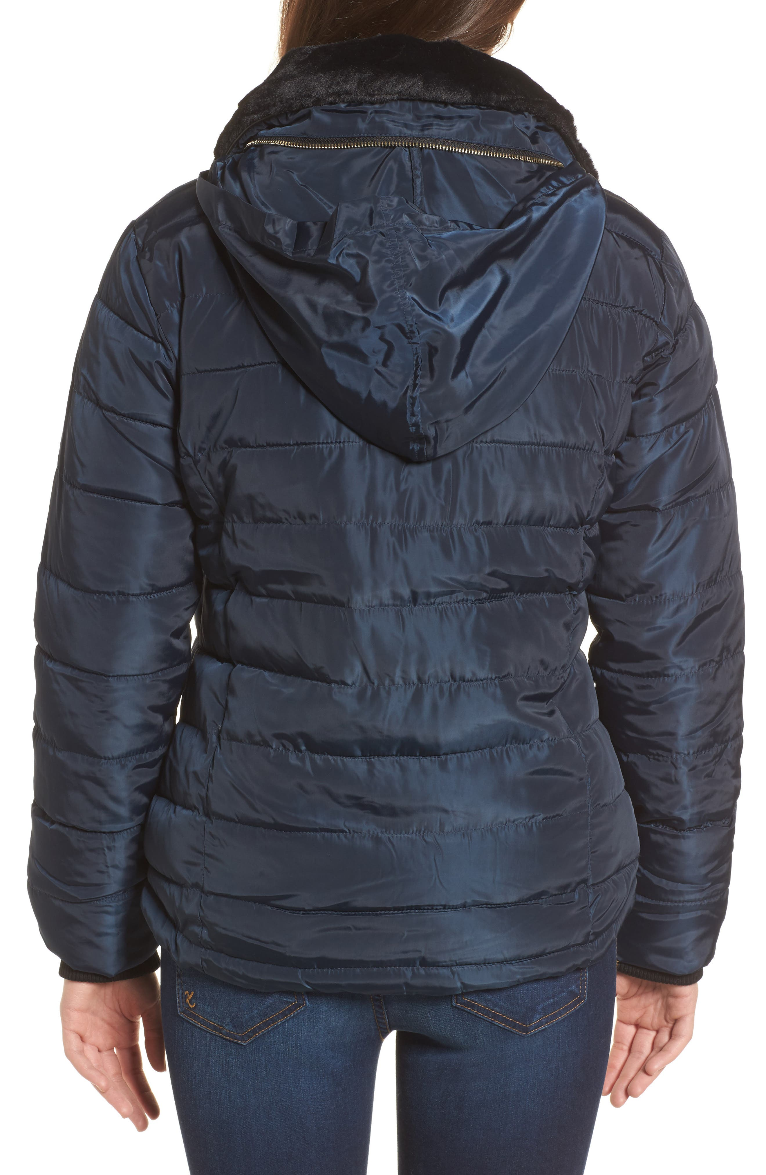 Puffer Jacket with Faux Fur Collar Lining,                             Alternate thumbnail 2, color,                             Navy Blue