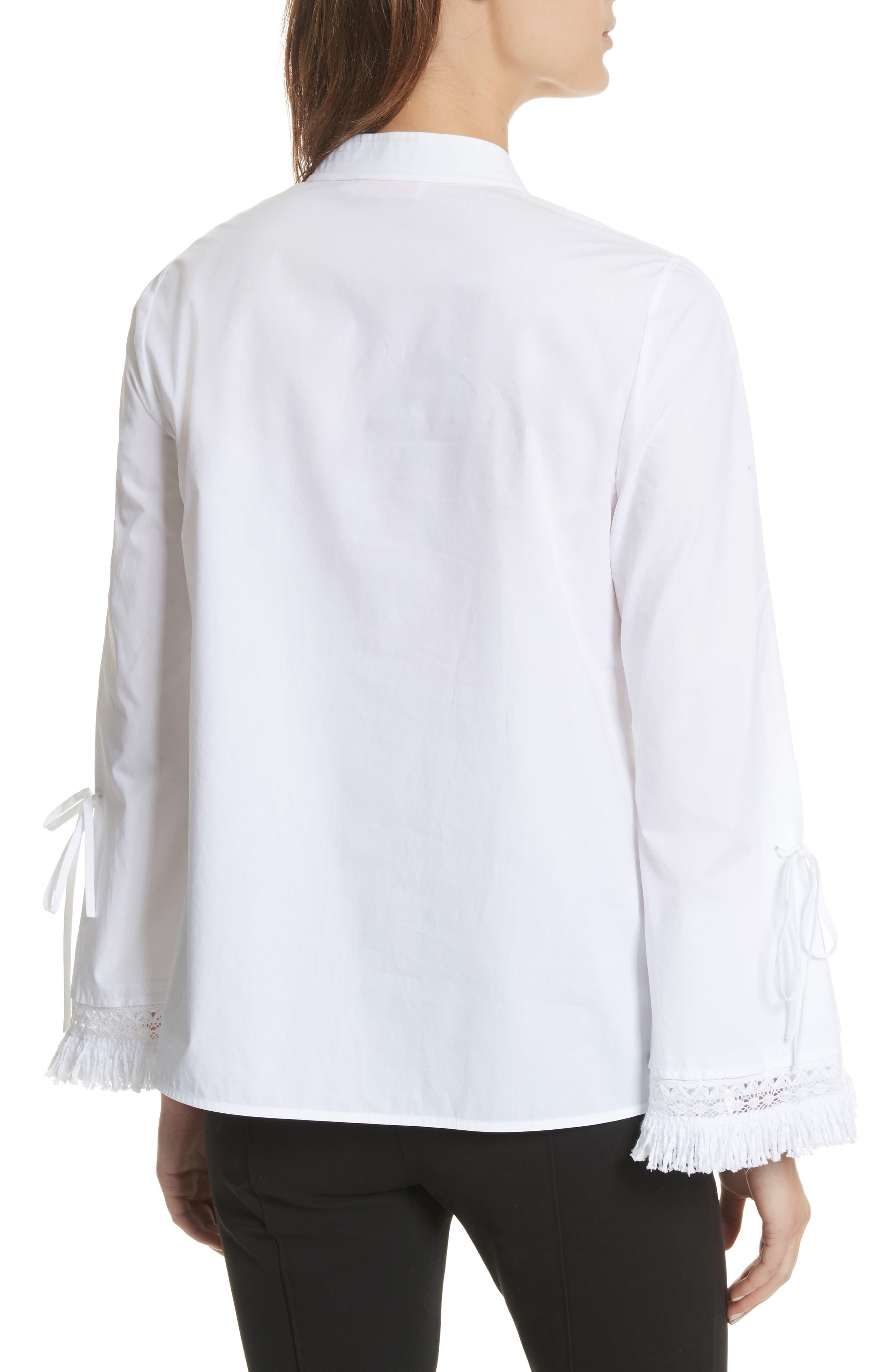 Sophie Tie Sleeve Cotton Blouse,                             Alternate thumbnail 2, color,                             White