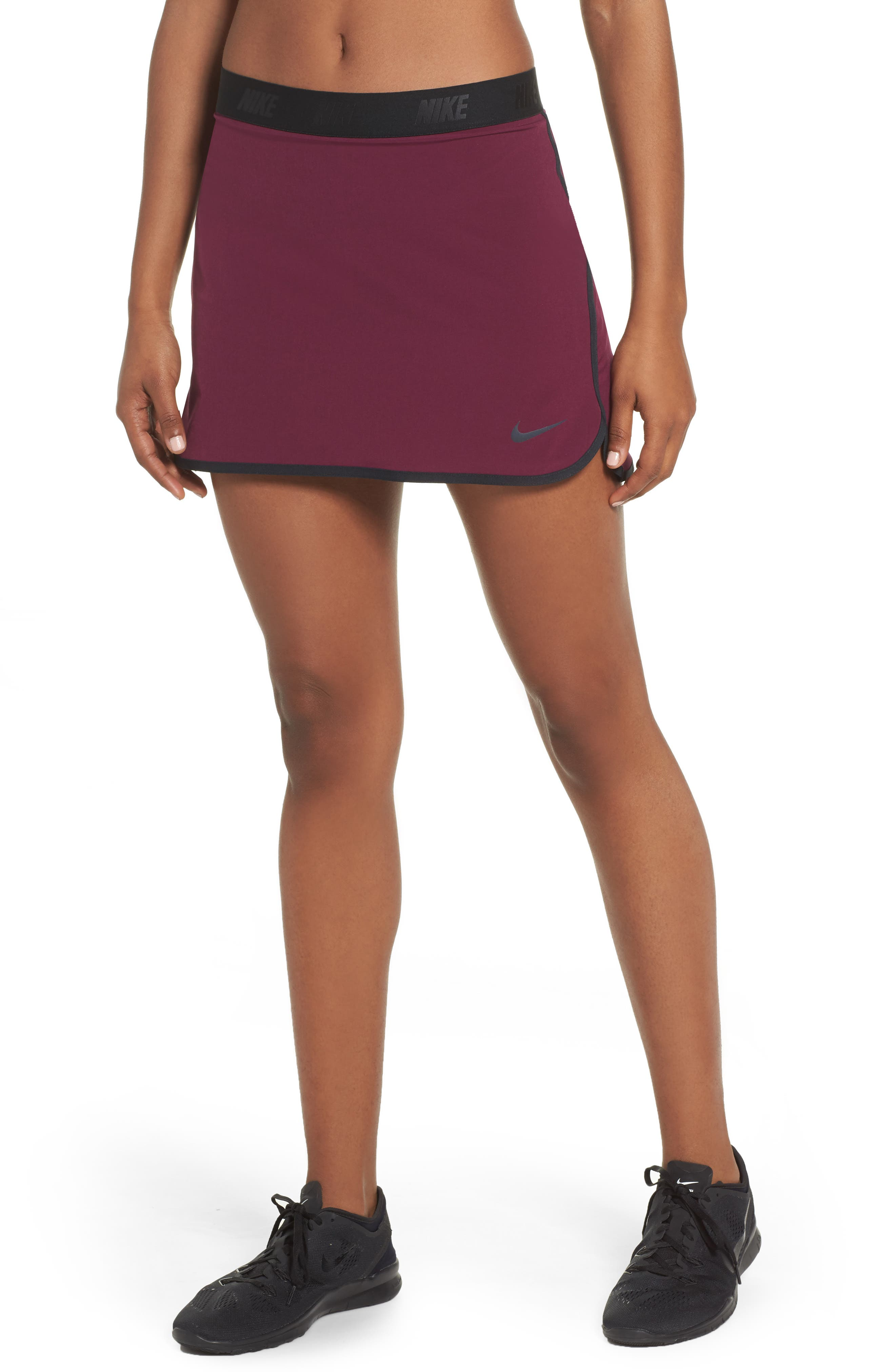 Flex Tennis Skirt,                             Main thumbnail 1, color,                             Burgundy