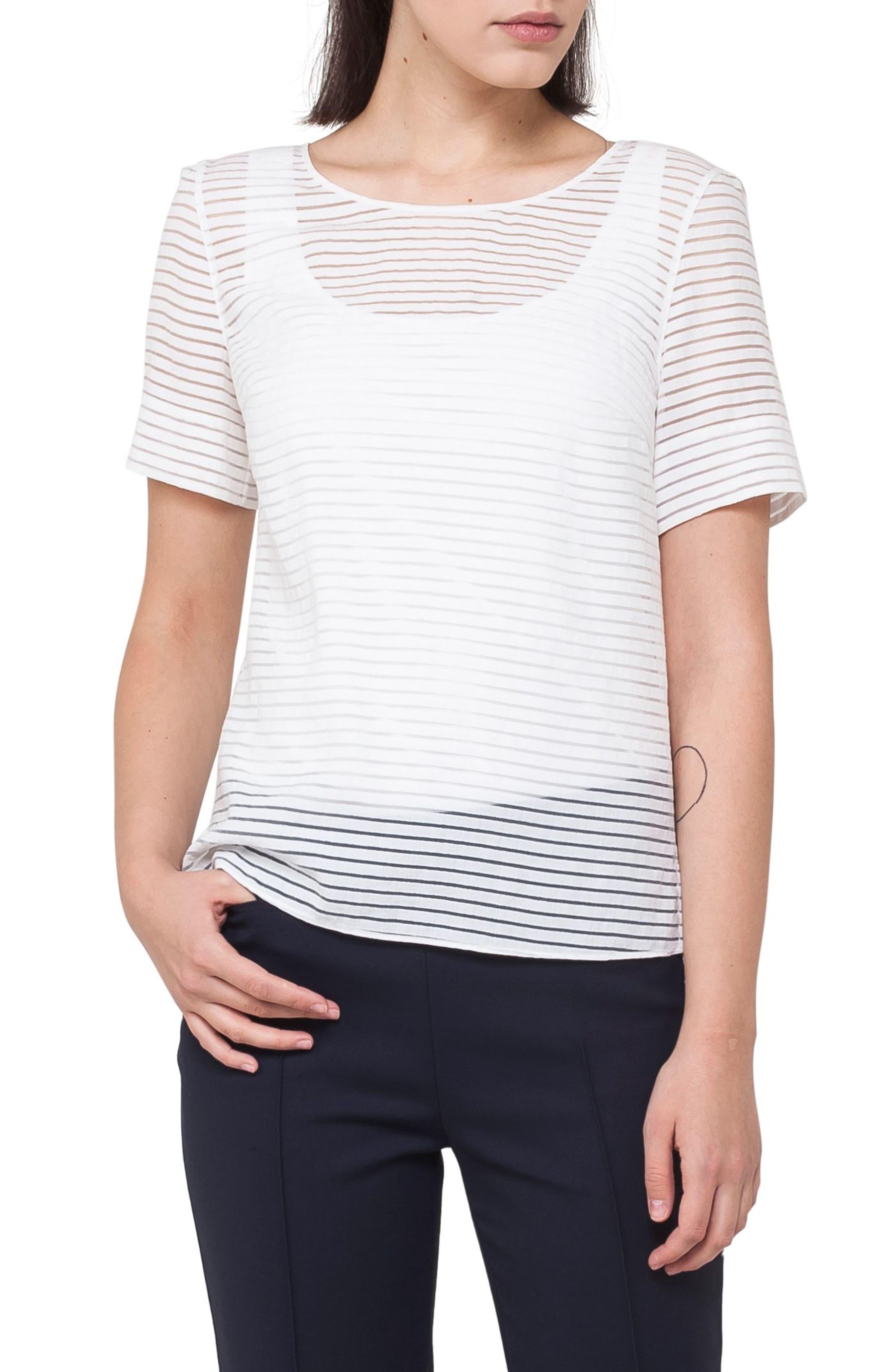 Illusion Stripe Tee,                         Main,                         color, Cream