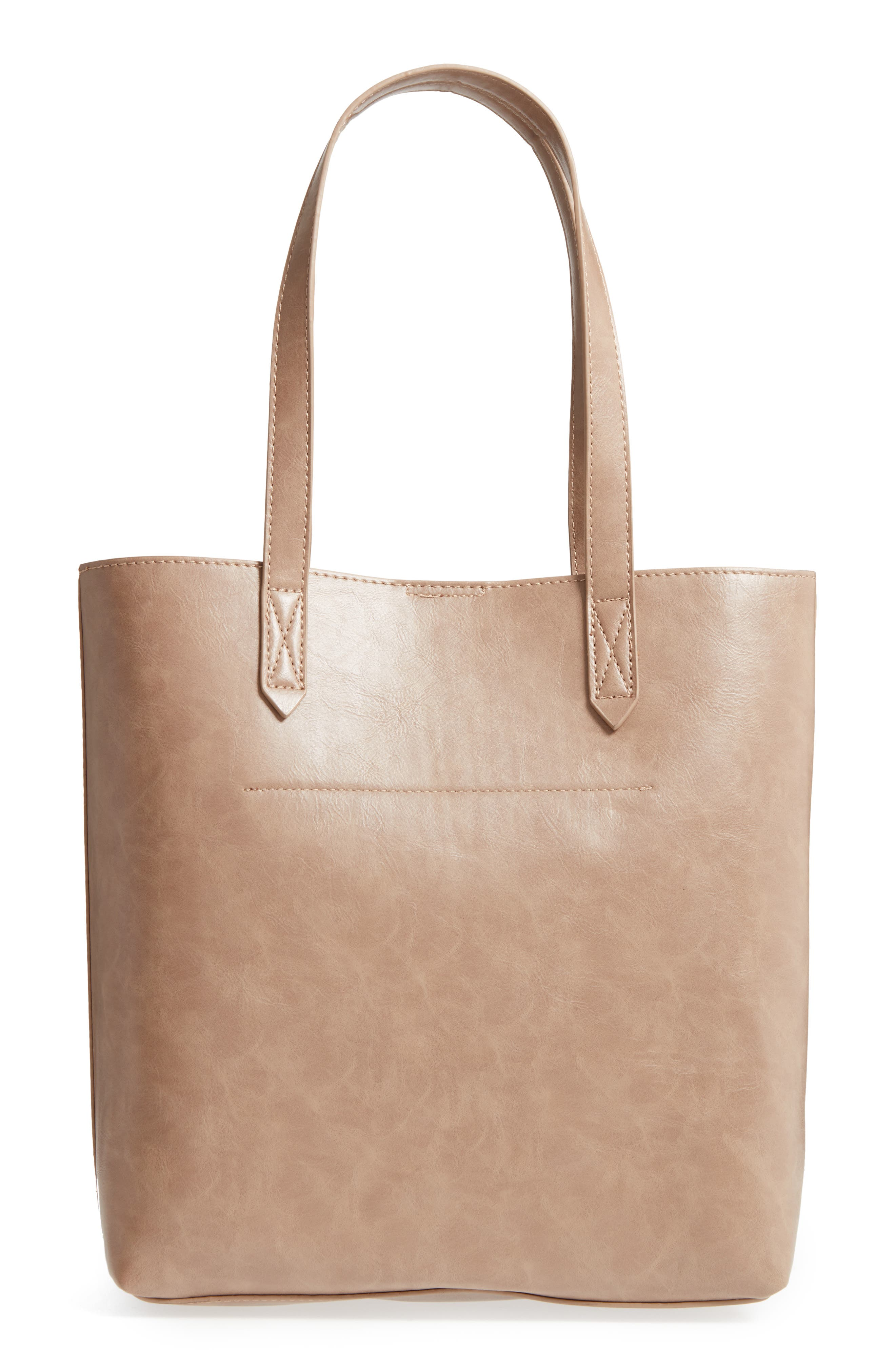 Trish Faux Leather Tote,                             Alternate thumbnail 3, color,                             Taupe