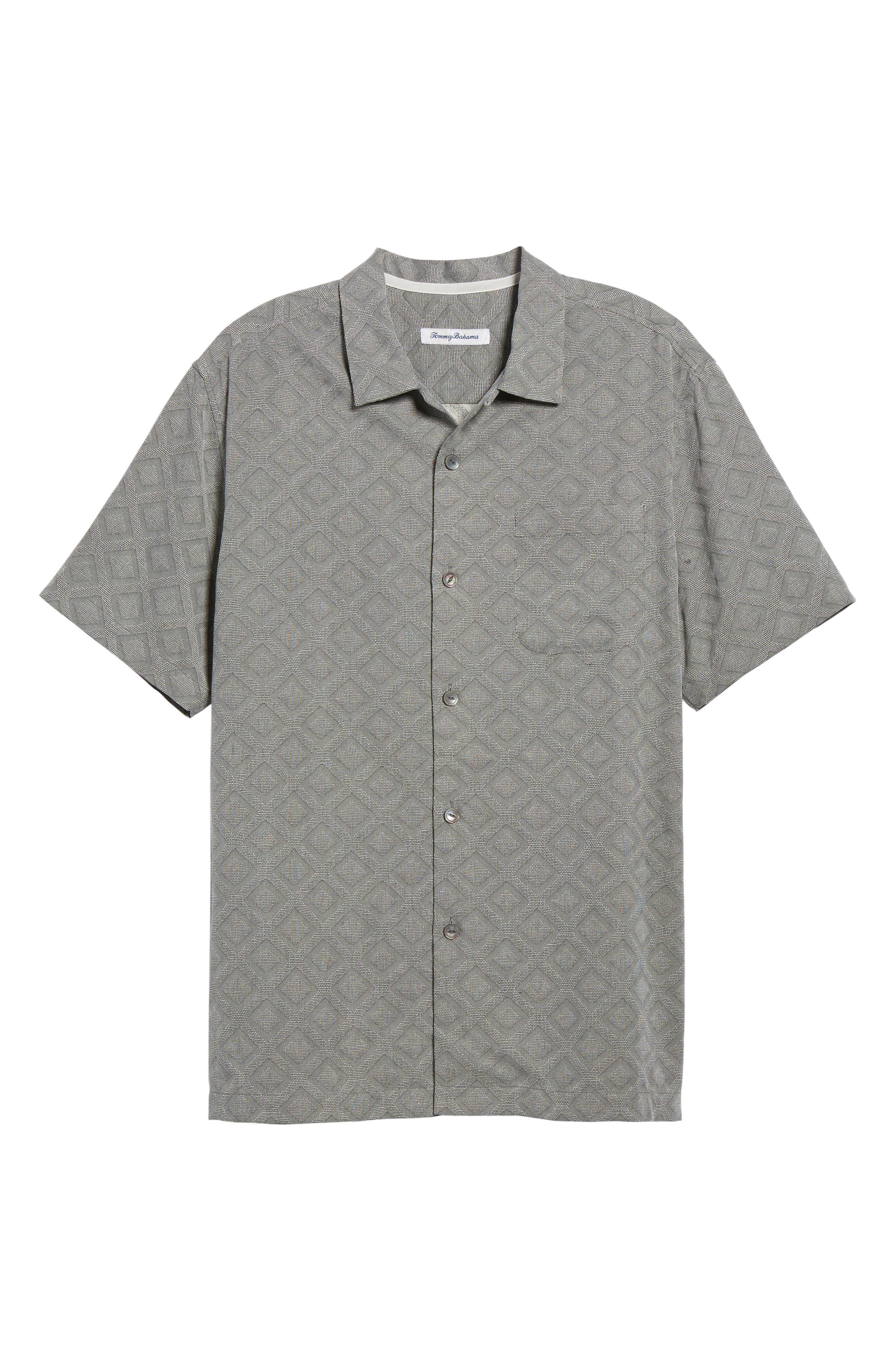 Solid Diamond Isle Silk Sport Shirt,                             Alternate thumbnail 6, color,                             Bala Shark