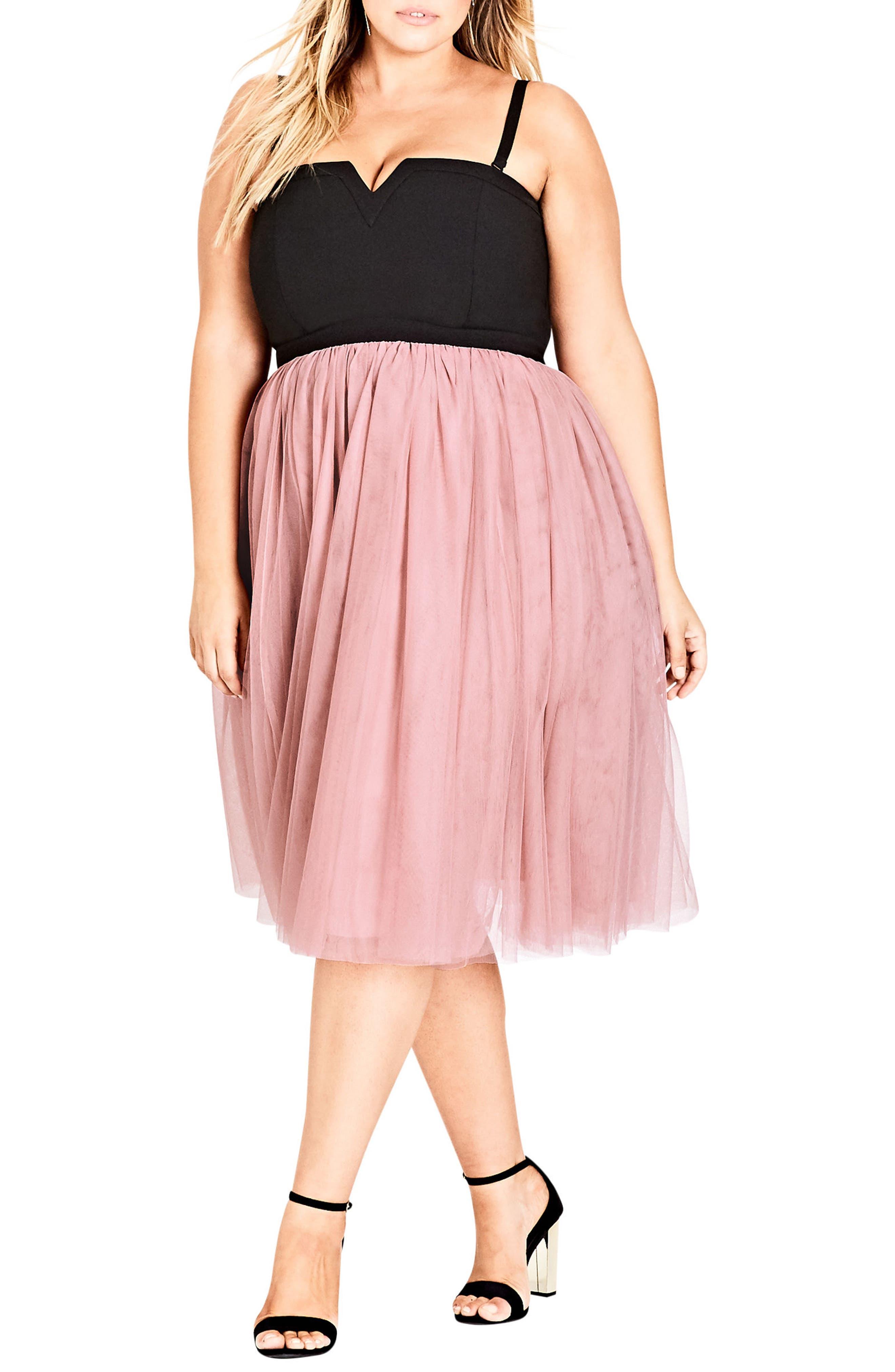 Power Princess Fit & Flare Dress,                             Main thumbnail 1, color,                             Pout