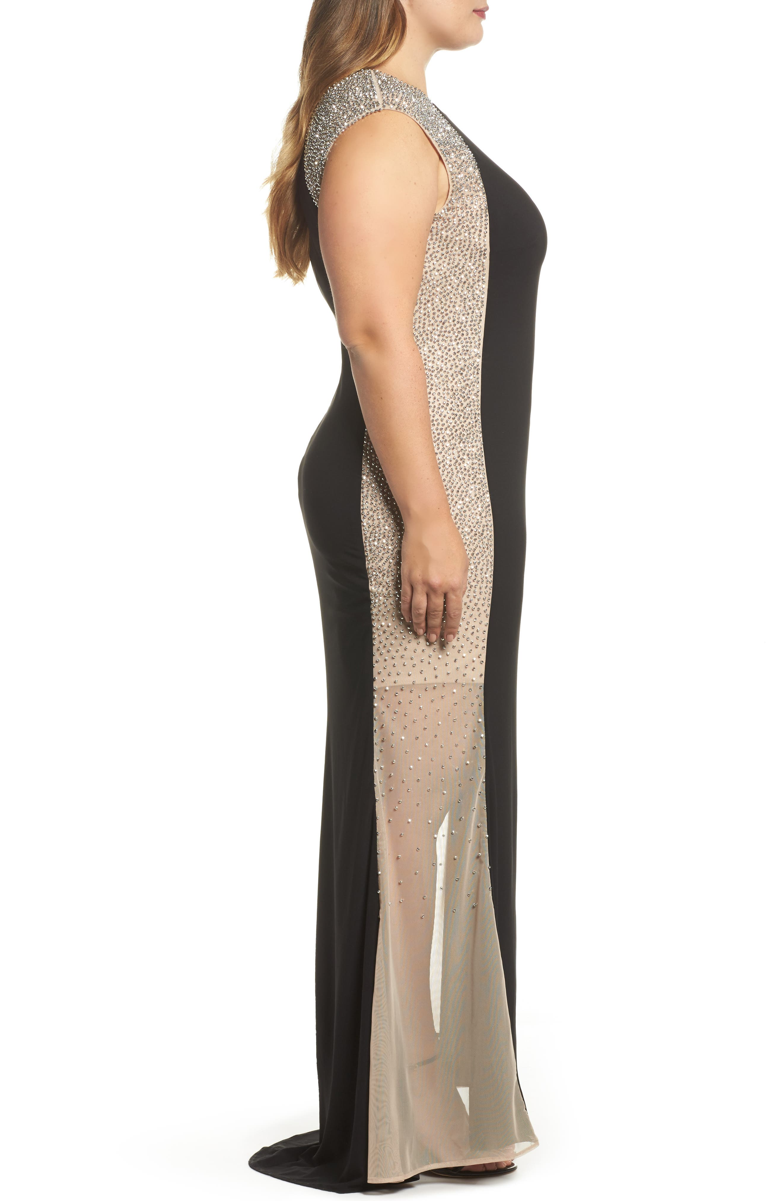 Beaded High Neck Column Gown,                             Alternate thumbnail 3, color,                             Black/ Nude/ Silver