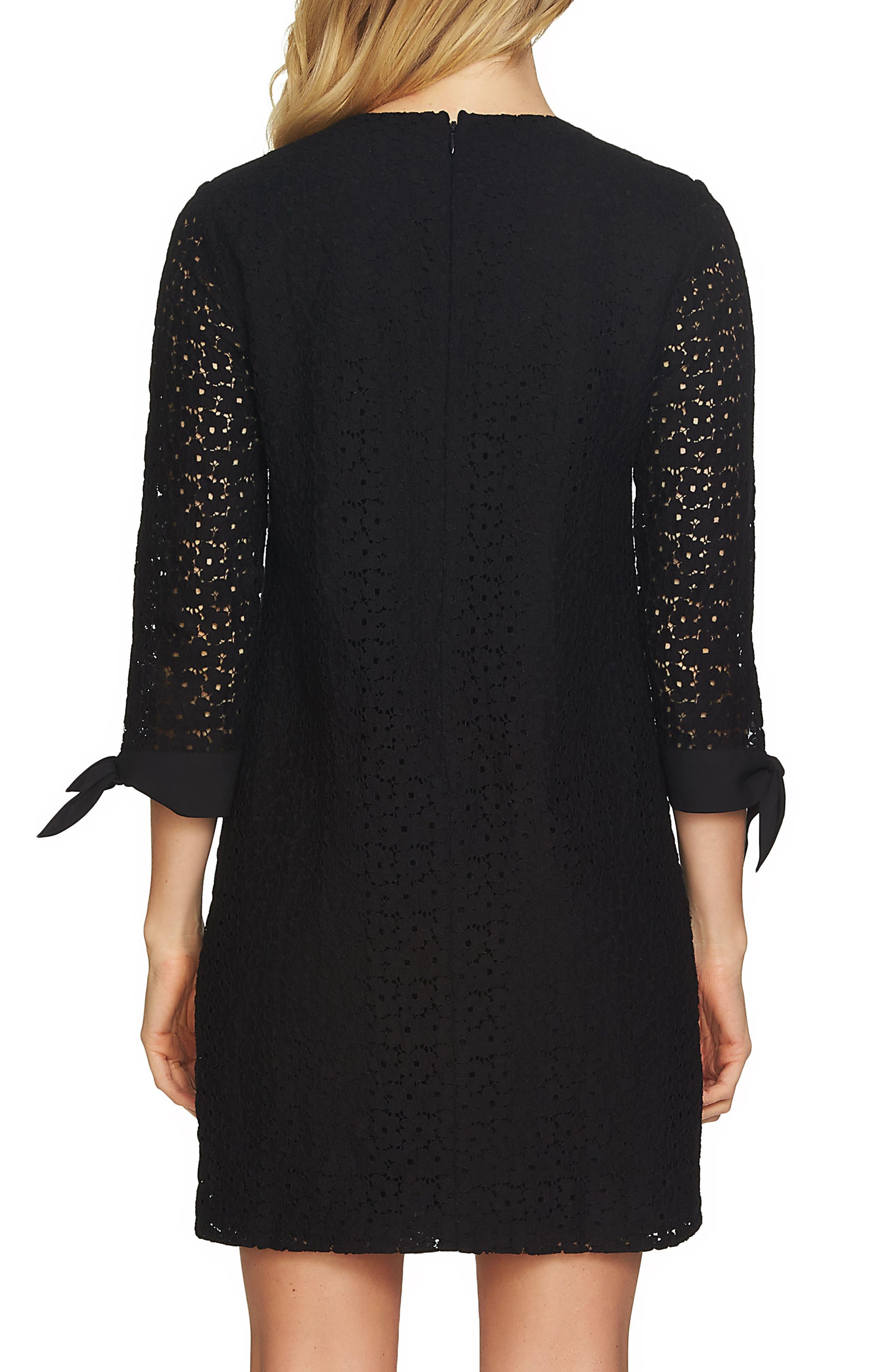 Tie Sleeve Floral Lace Shift Dress,                             Alternate thumbnail 2, color,                             Rich Black