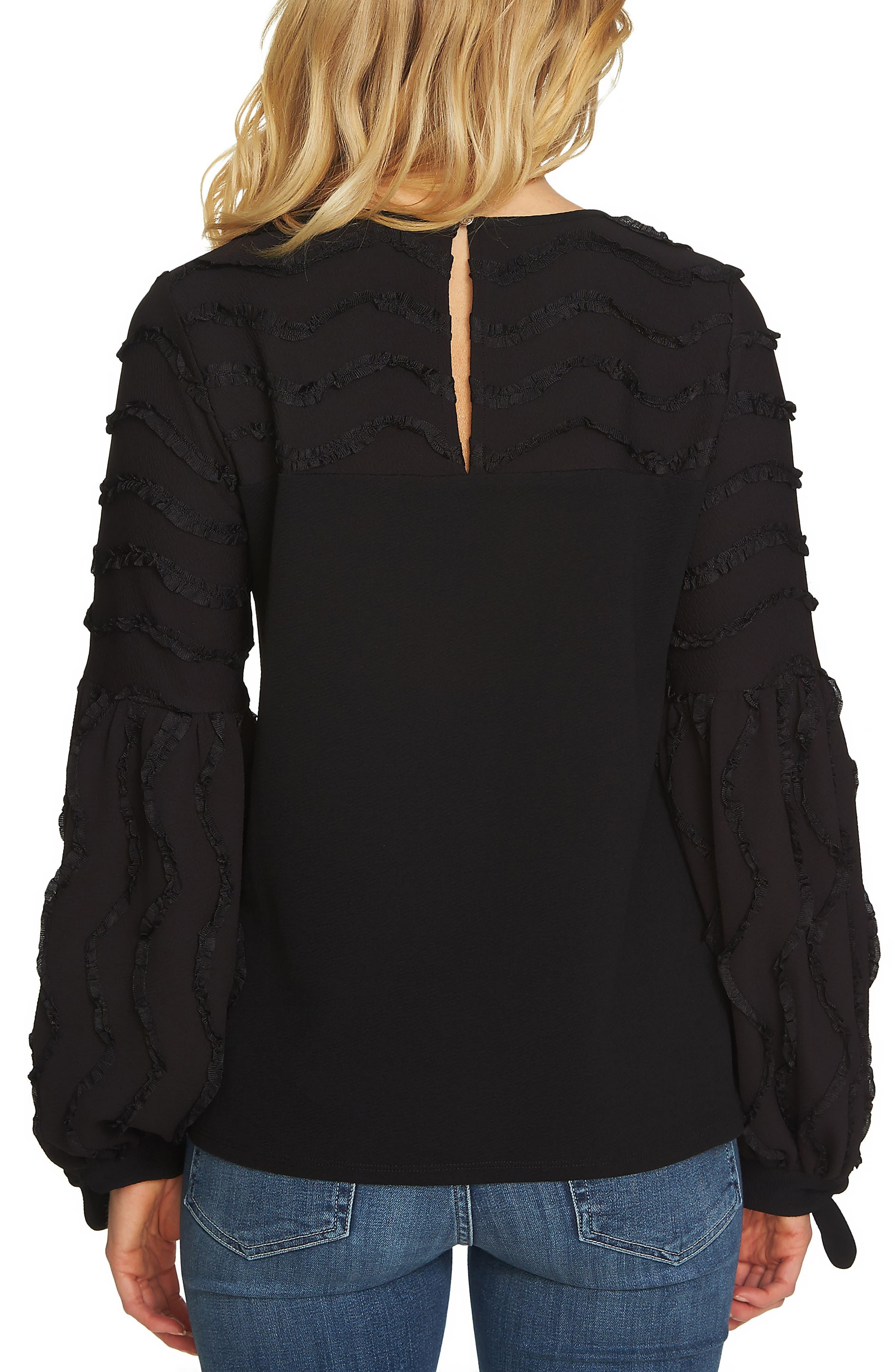 Balloon Sleeve Textured Knit Top,                             Alternate thumbnail 2, color,                             Rich Black