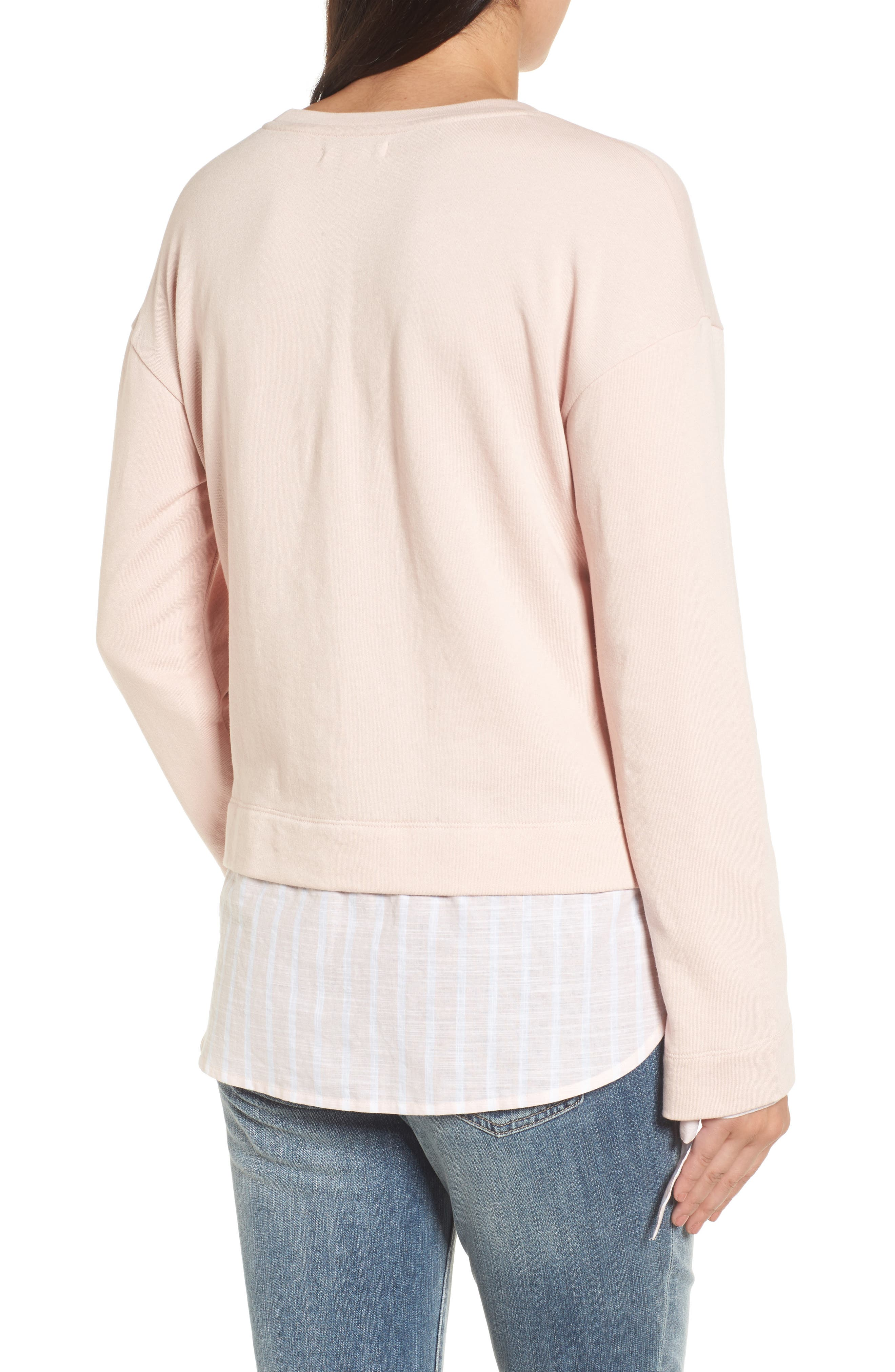Woven Trim Layered Sweatshirt,                             Alternate thumbnail 2, color,                             Pink- Stripe Colorblock