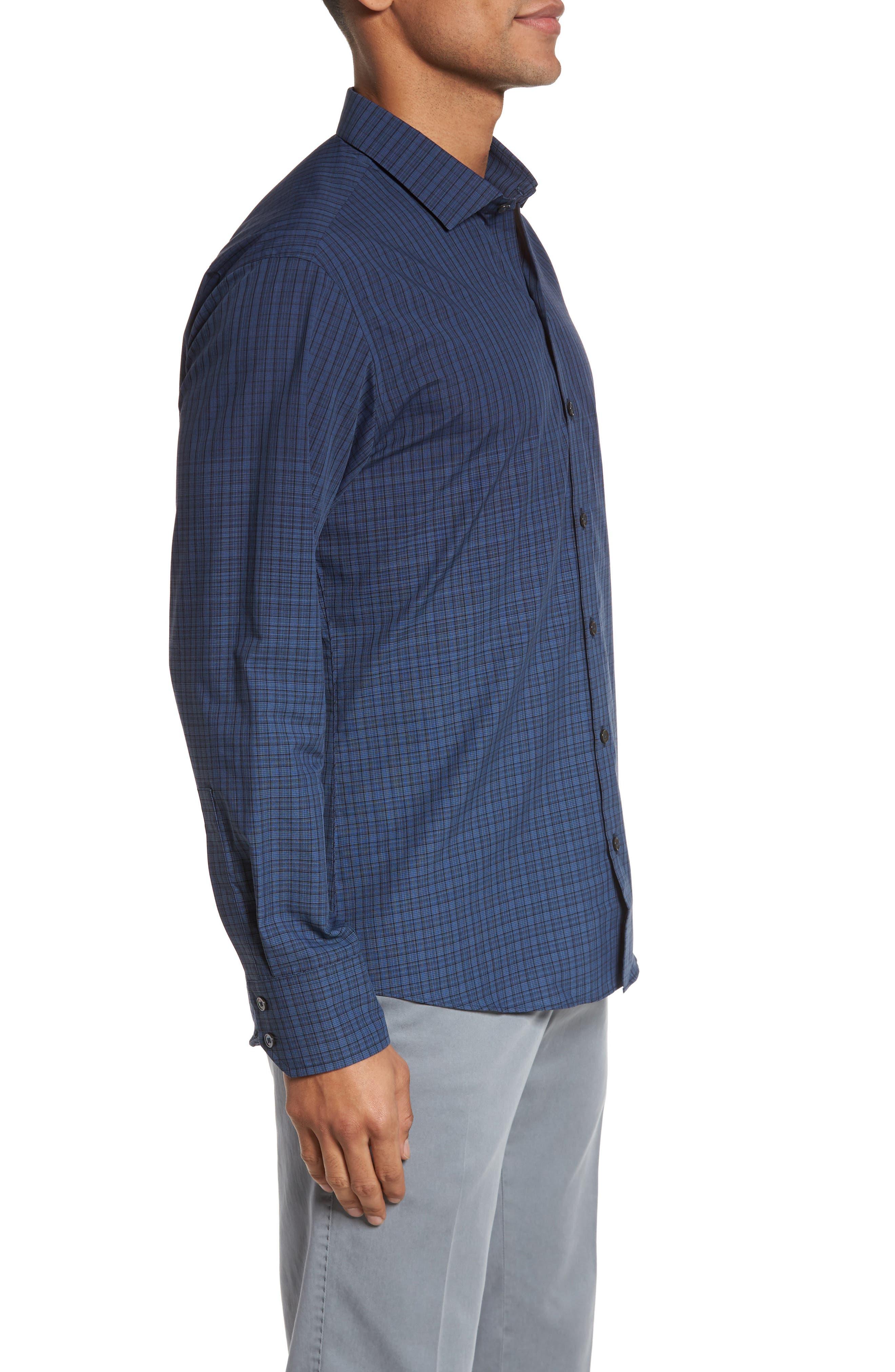 Wein Slim Fit Check Sport Shirt,                             Alternate thumbnail 3, color,                             Dark Blue