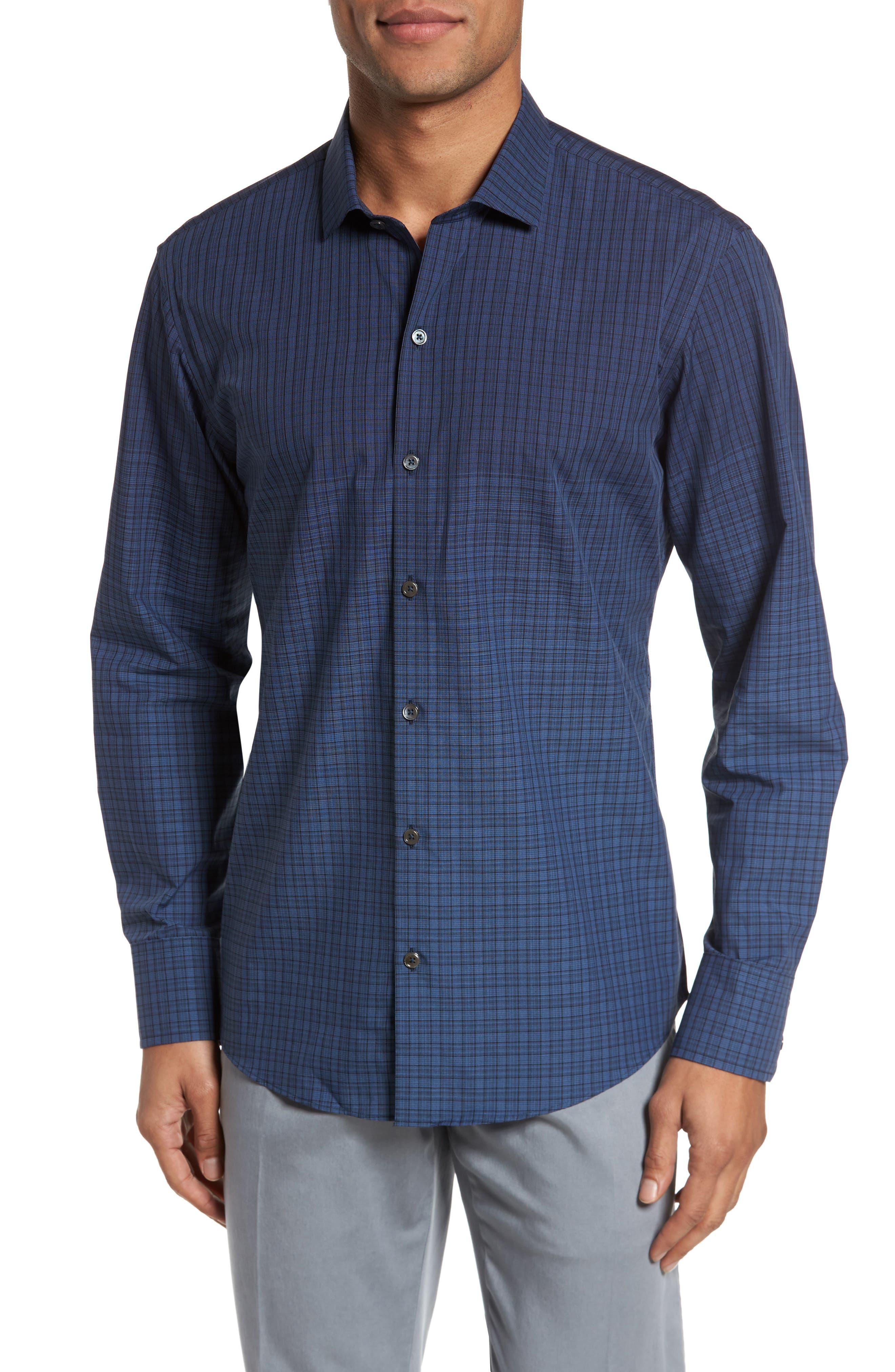 Wein Slim Fit Check Sport Shirt,                         Main,                         color, Dark Blue