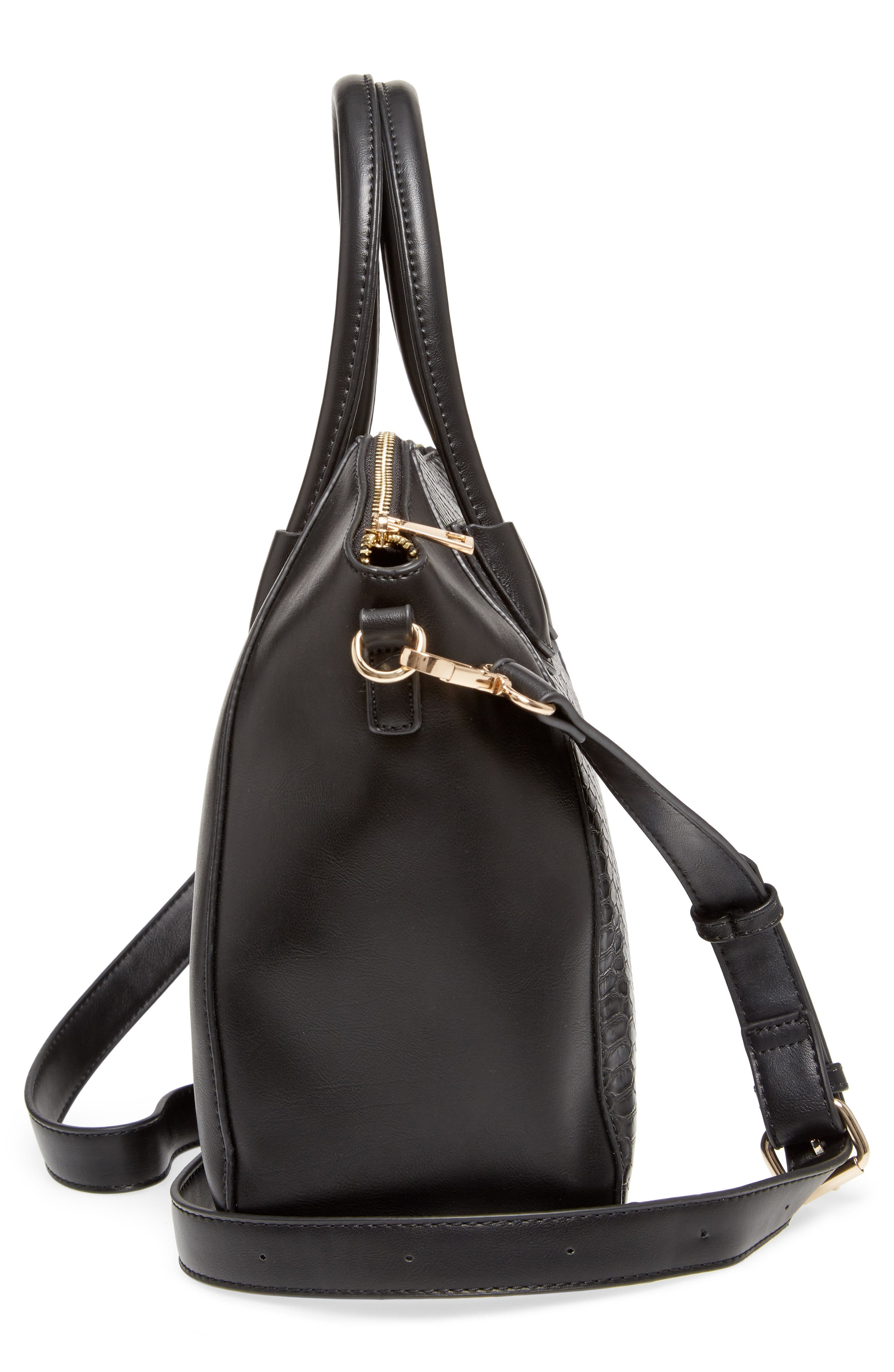 Chase Faux Leather Satchel,                             Alternate thumbnail 5, color,                             Black
