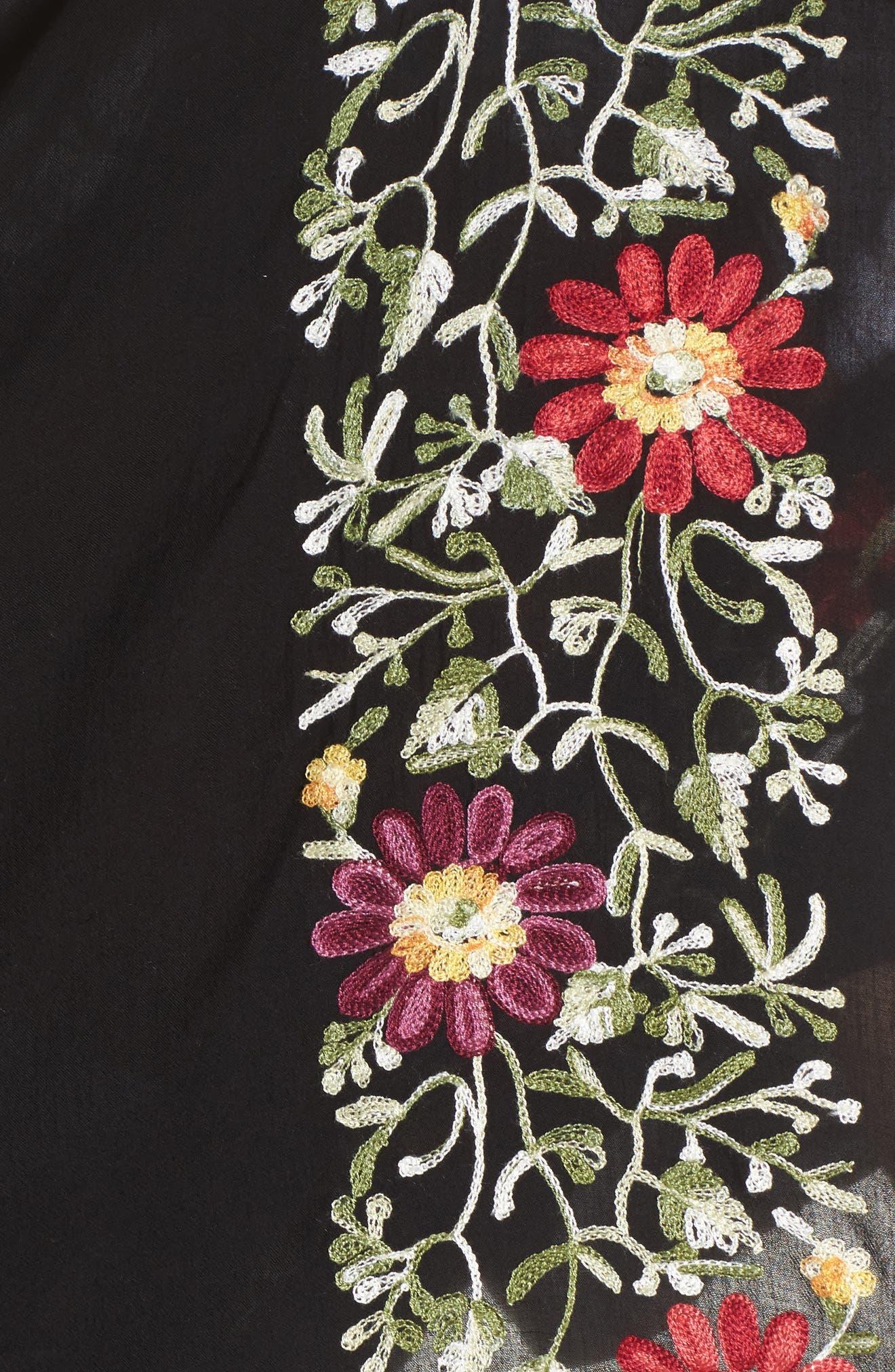 Embroidered Cover-Up Kimono,                             Alternate thumbnail 5, color,                             Black