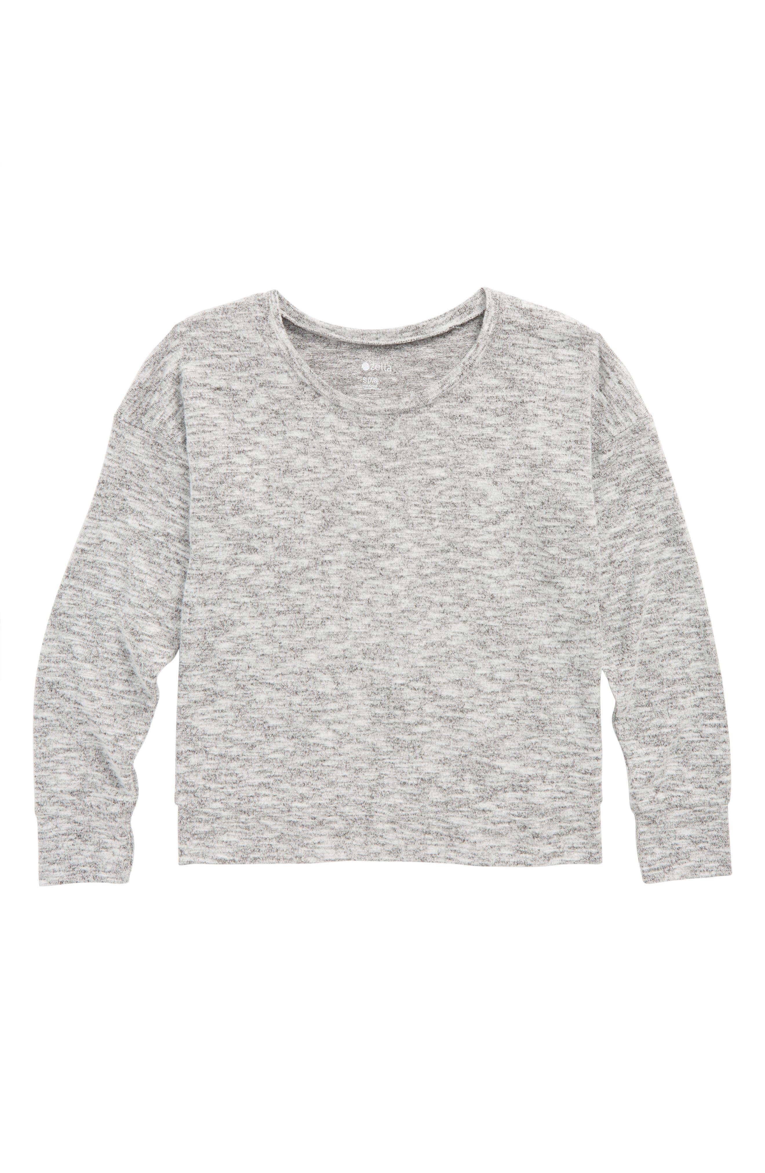Zella Open Back Sweater,                         Main,                         color, Black- White