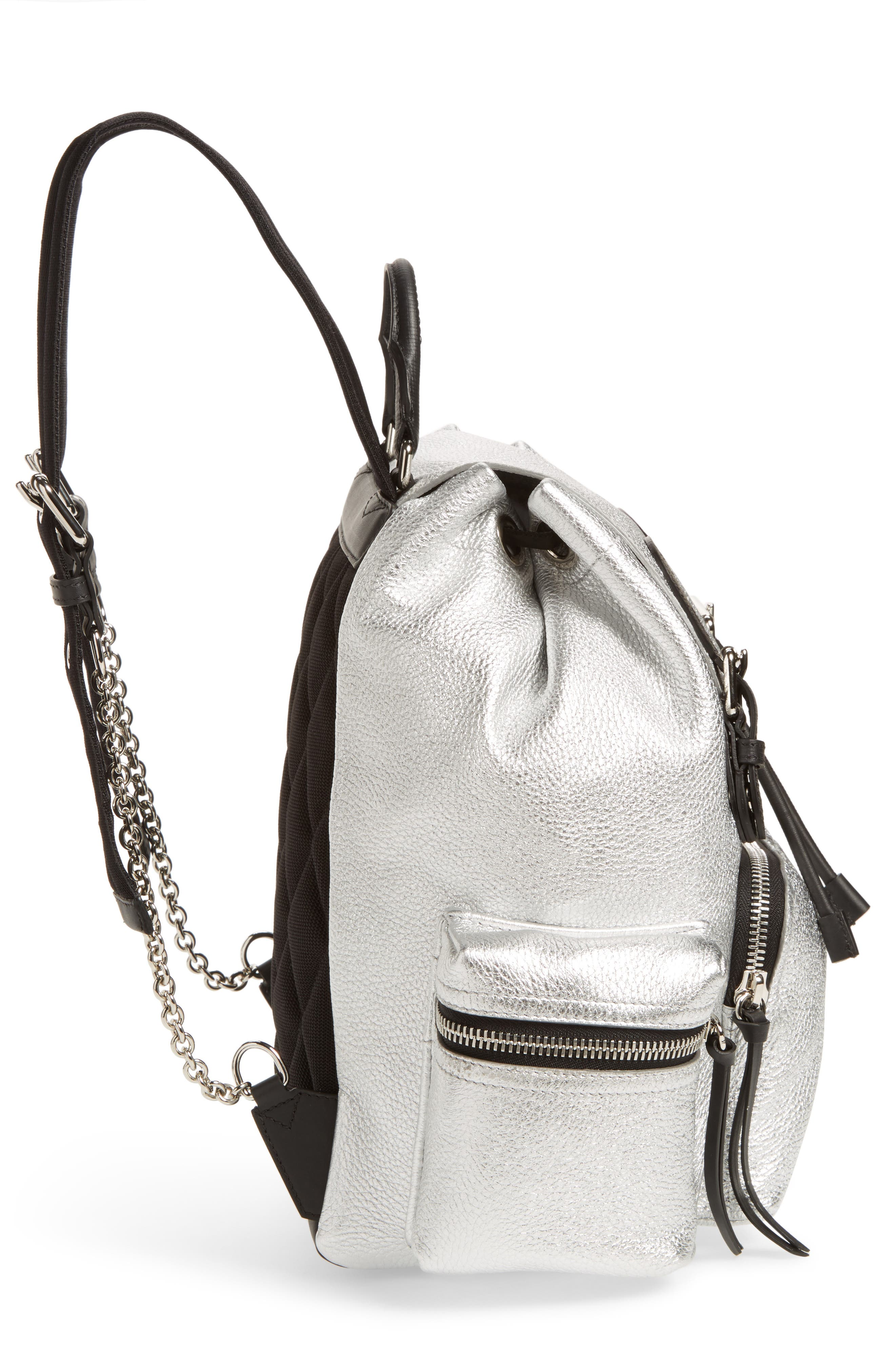 Medium Rucksack Metallic Leather Backpack,                             Alternate thumbnail 5, color,                             Silver