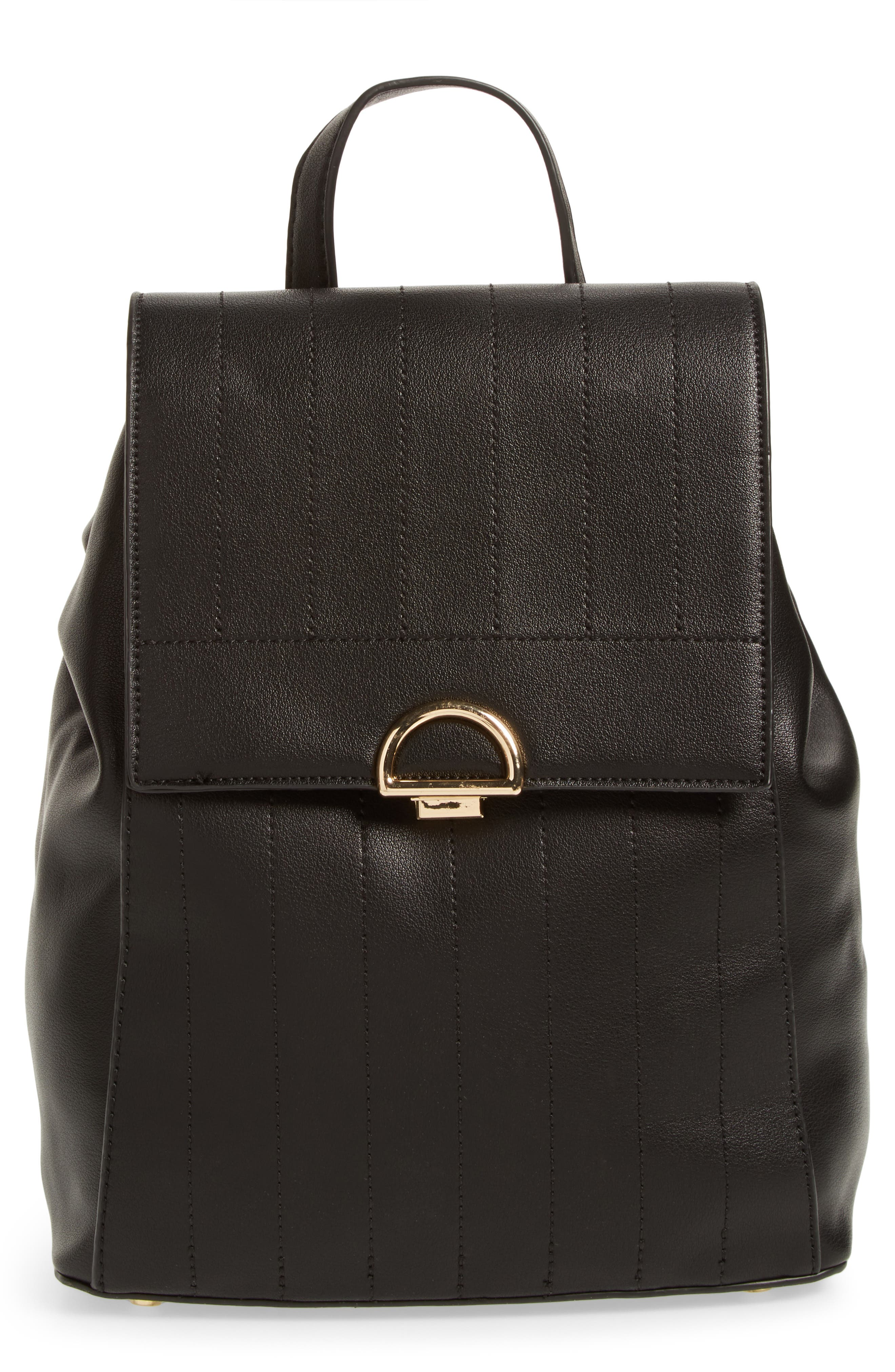Zilo Quilted Faux Leather Backpack,                             Main thumbnail 1, color,                             Black