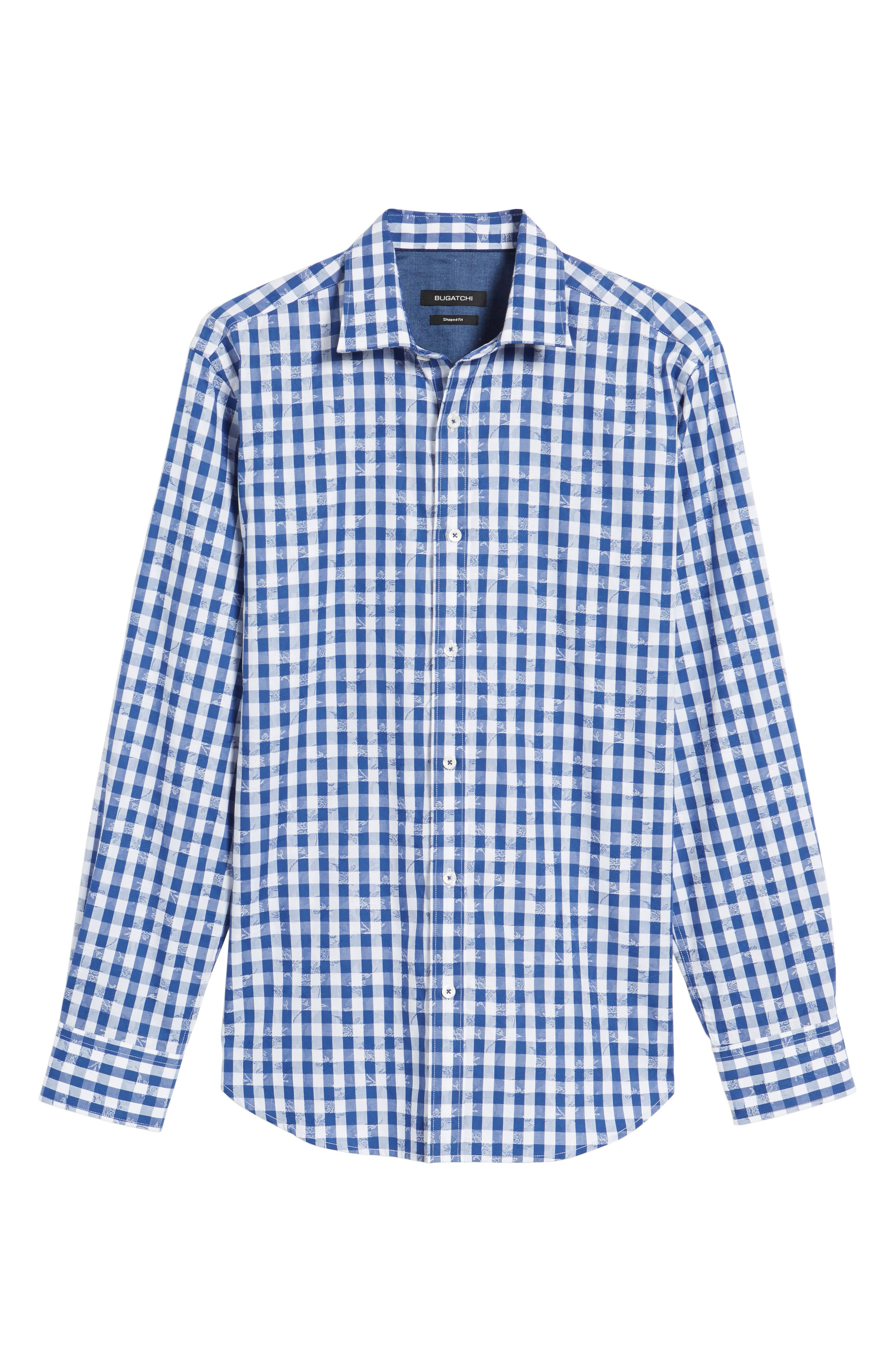Shaped Fit Check Sport Shirt,                             Alternate thumbnail 6, color,                             Navy