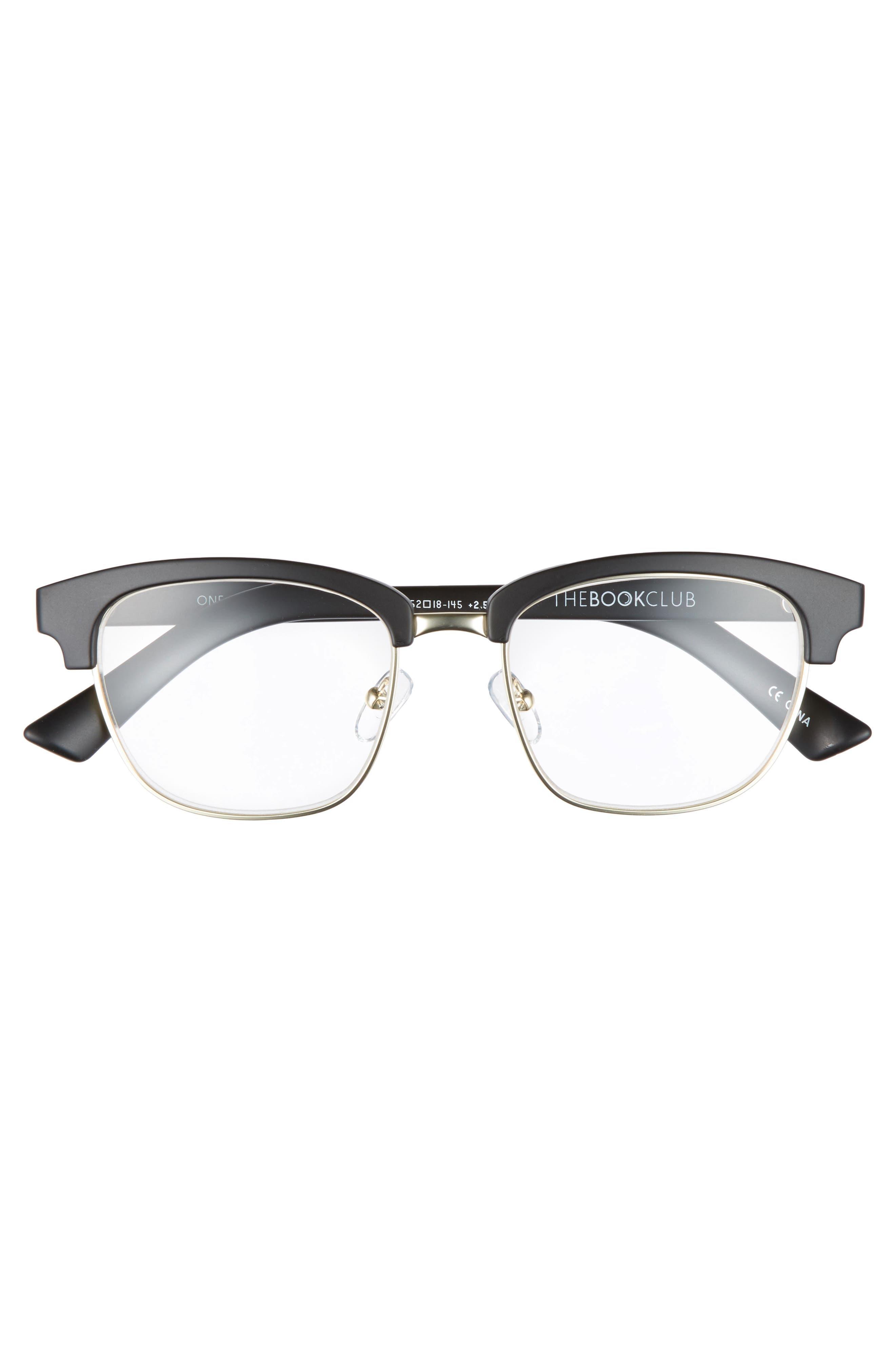 One Drew Over the English Test 52mm Reading Glasses,                             Alternate thumbnail 3, color,                             Black Marker