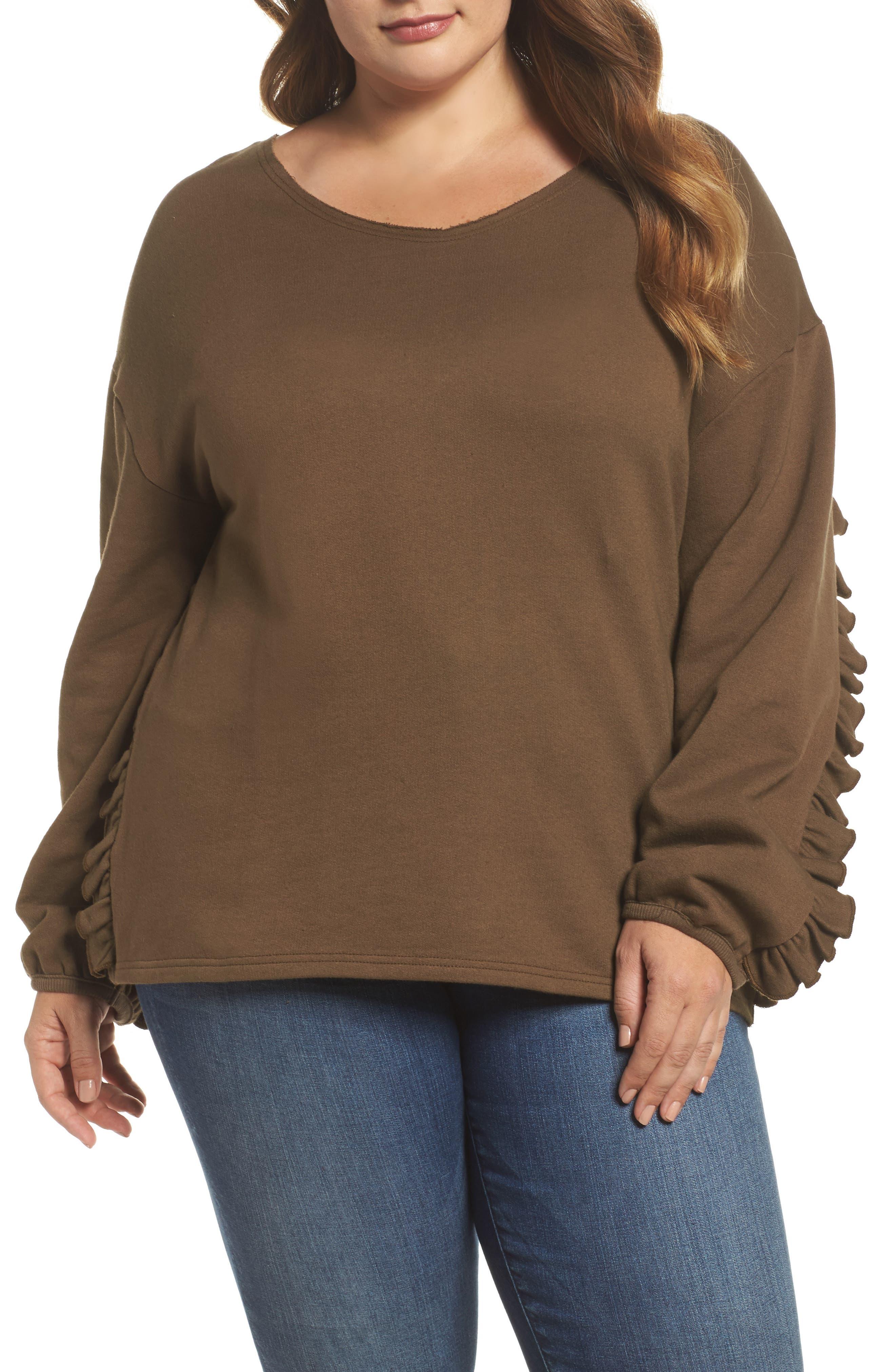 Ruffle Sleeve Sweatshirt,                         Main,                         color, Tree Moss