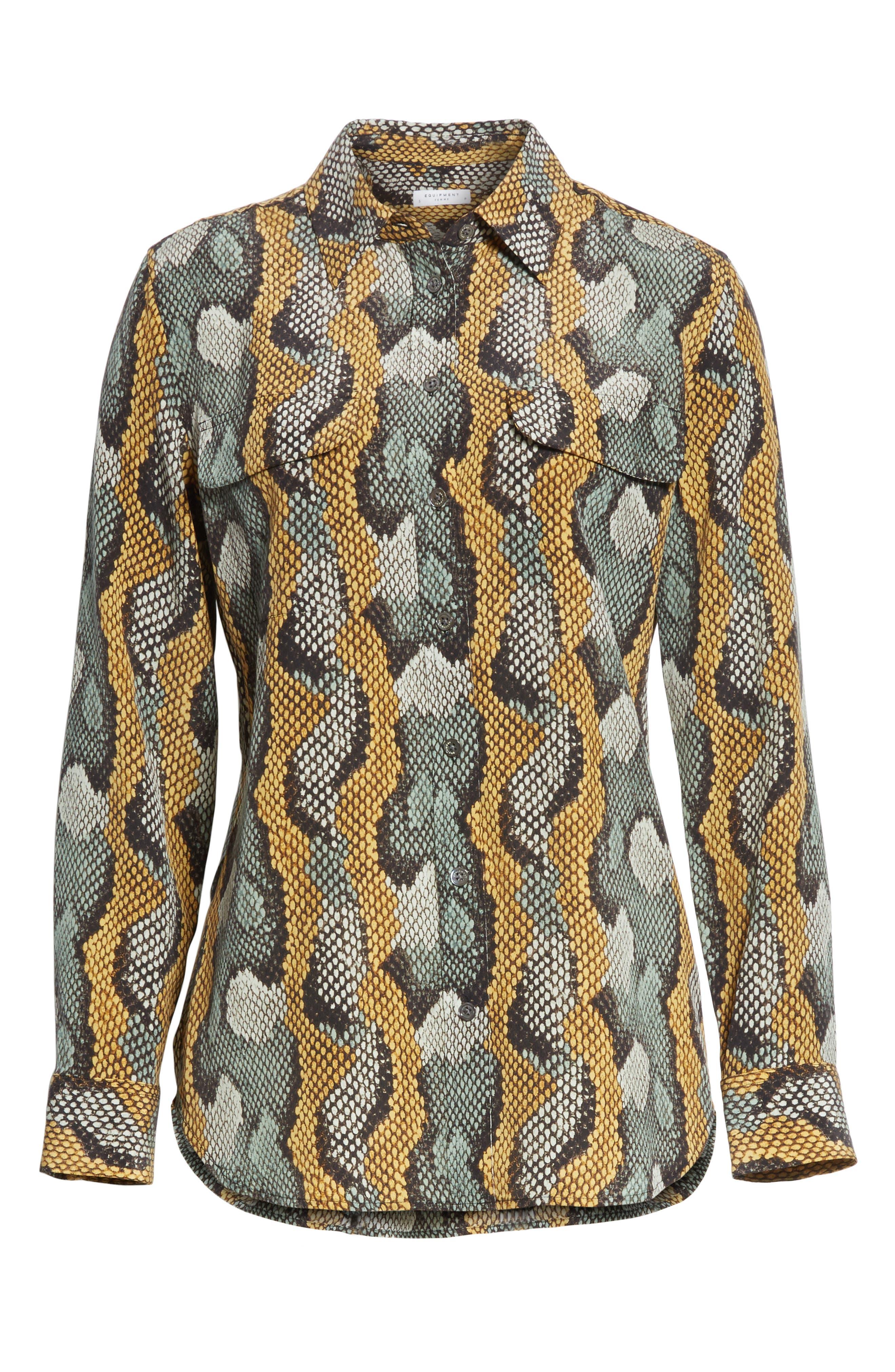 Slim Signature Python Print Silk Shirt,                             Alternate thumbnail 6, color,                             Olive Branch Multi