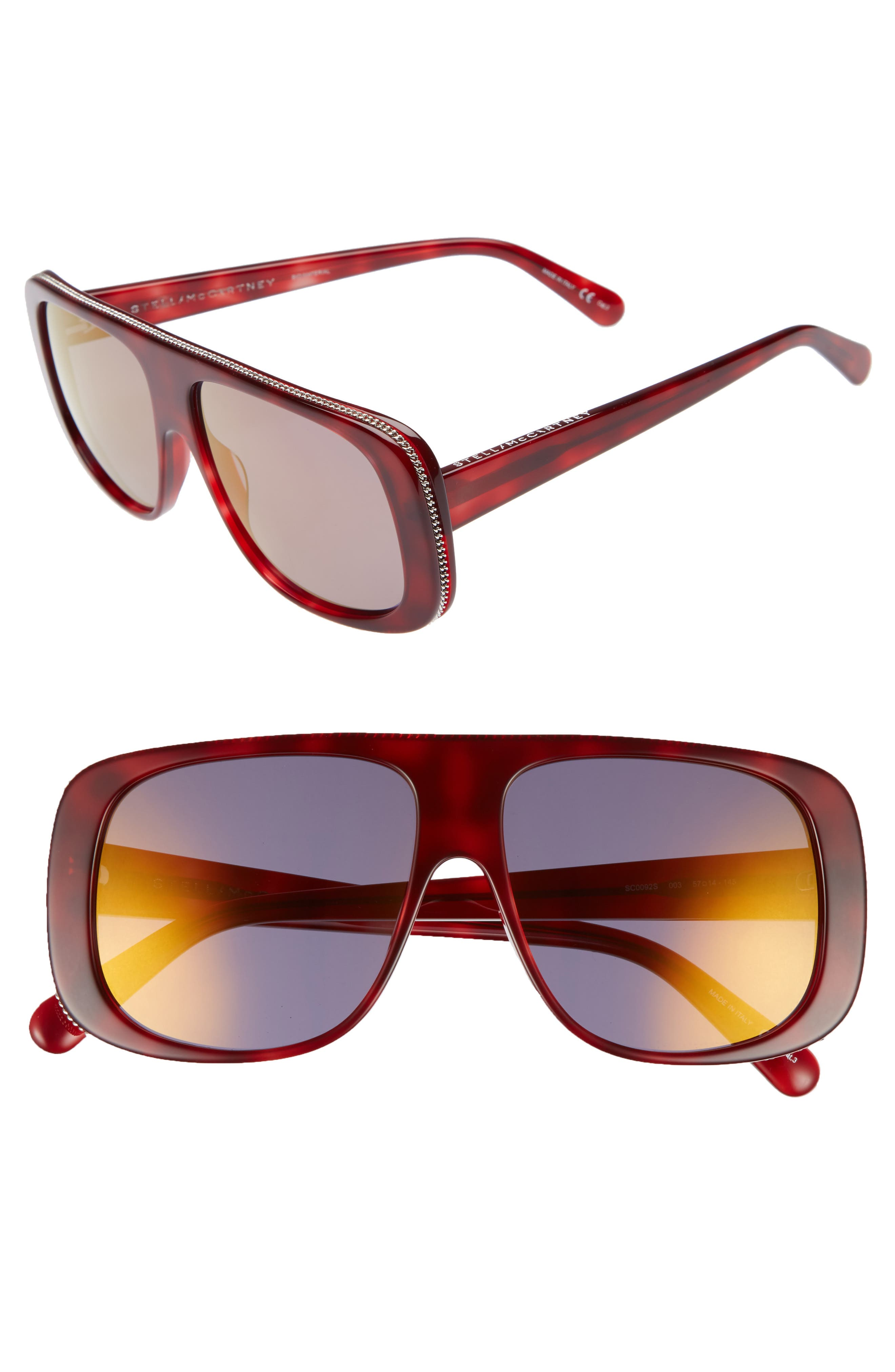57mm Flat Top Sunglasses,                             Main thumbnail 1, color,                             Avana