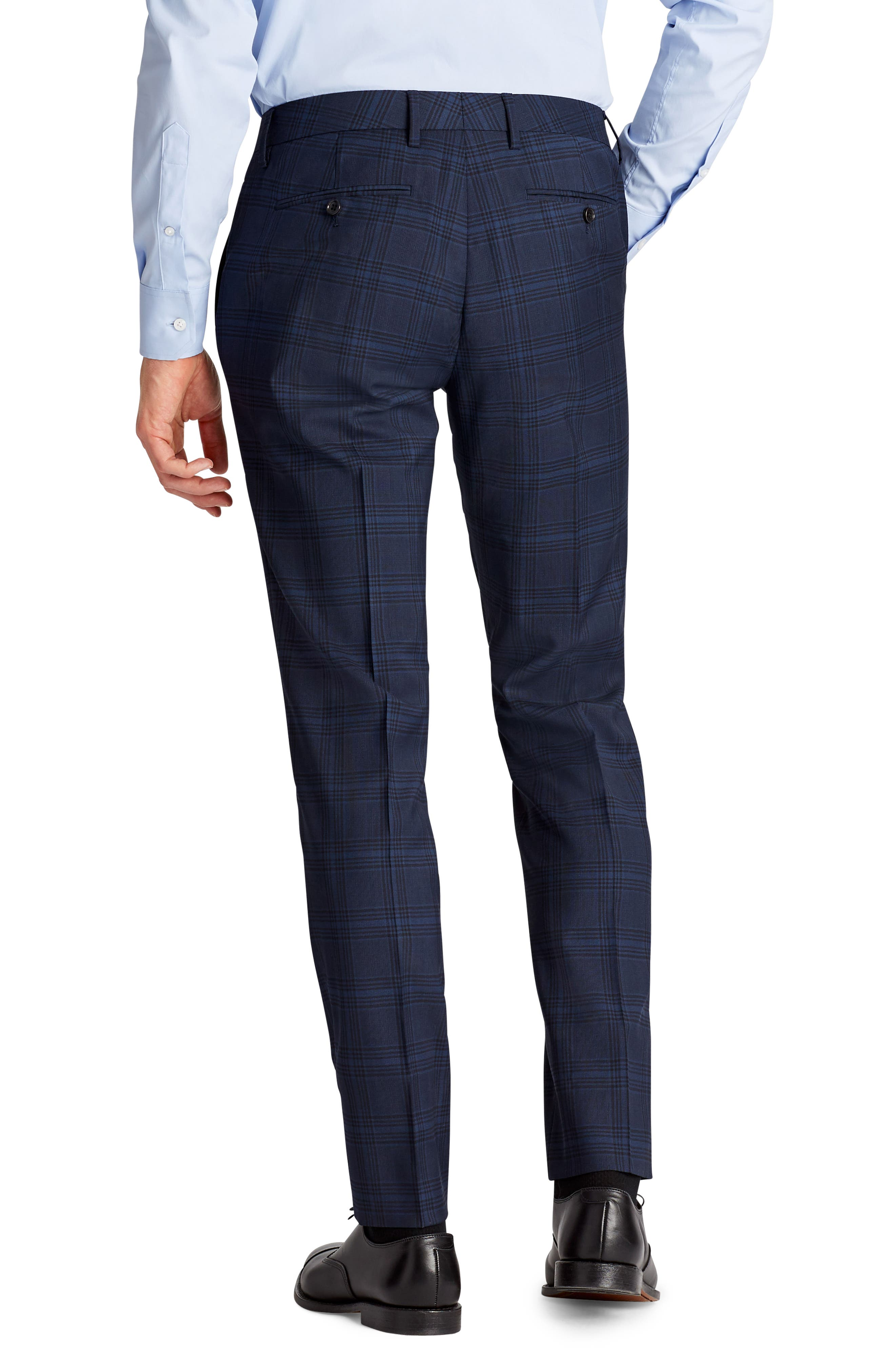 Jetsetter Flat Front Stretch Plaid Wool Blend Trousers,                             Alternate thumbnail 2, color,                             Navy Plaid