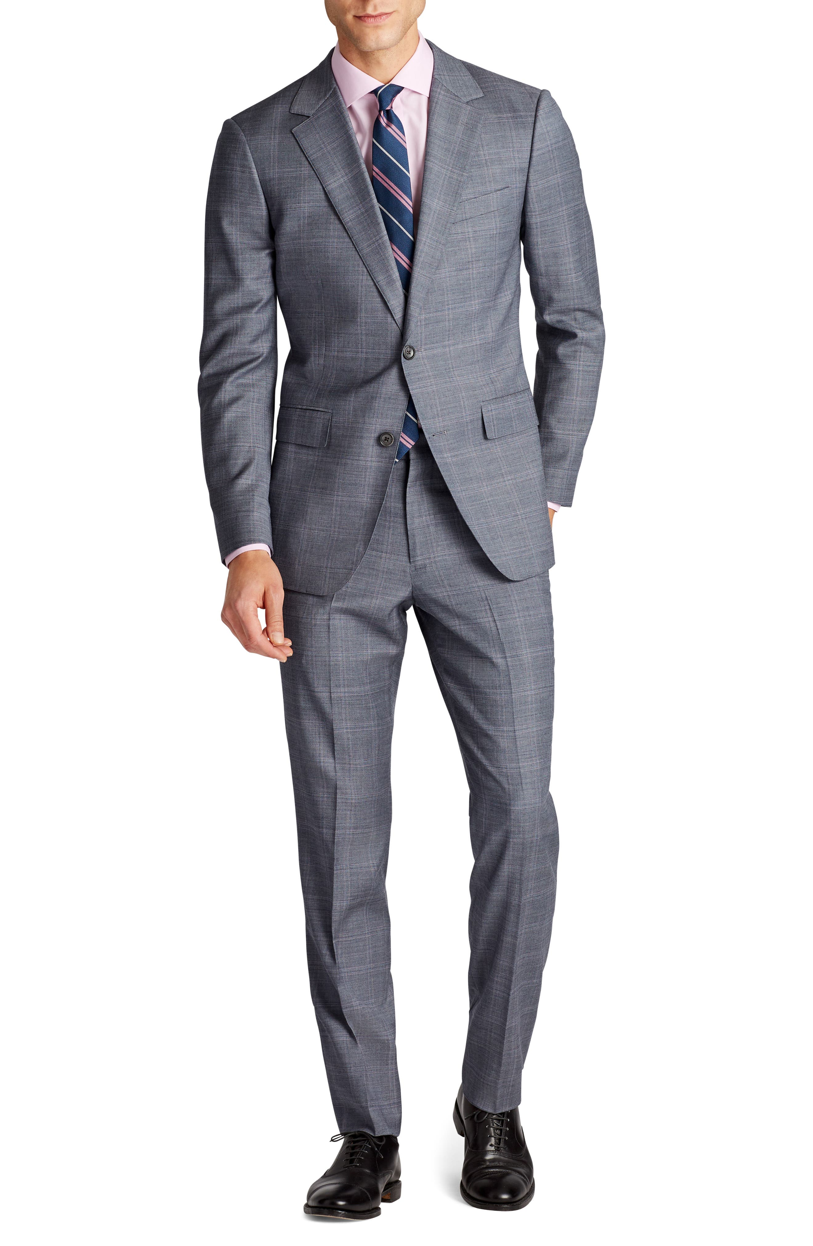 Jetsetter Flat Front Stretch Plaid Wool Trousers,                             Alternate thumbnail 4, color,                             Grey Plaid