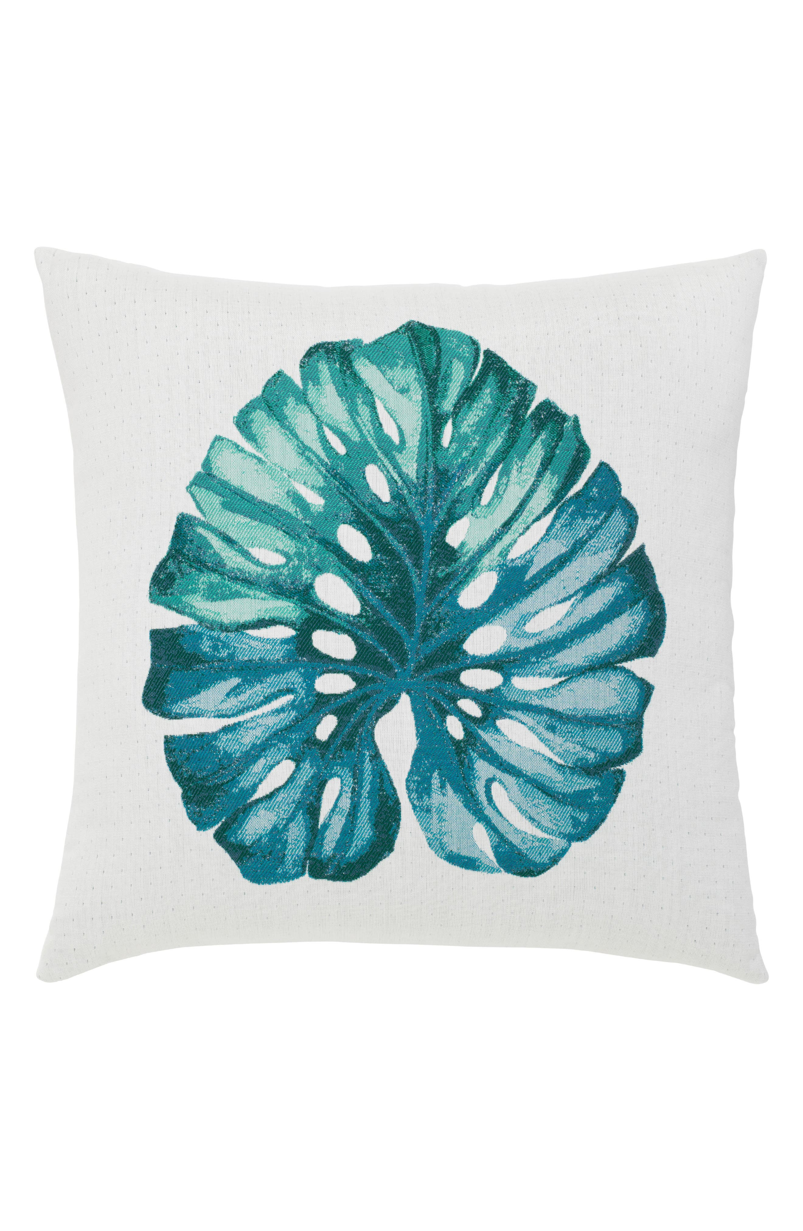 Leaf Lagoon Indoor/Outdoor Accent Pillow,                             Main thumbnail 1, color,                             White Blue