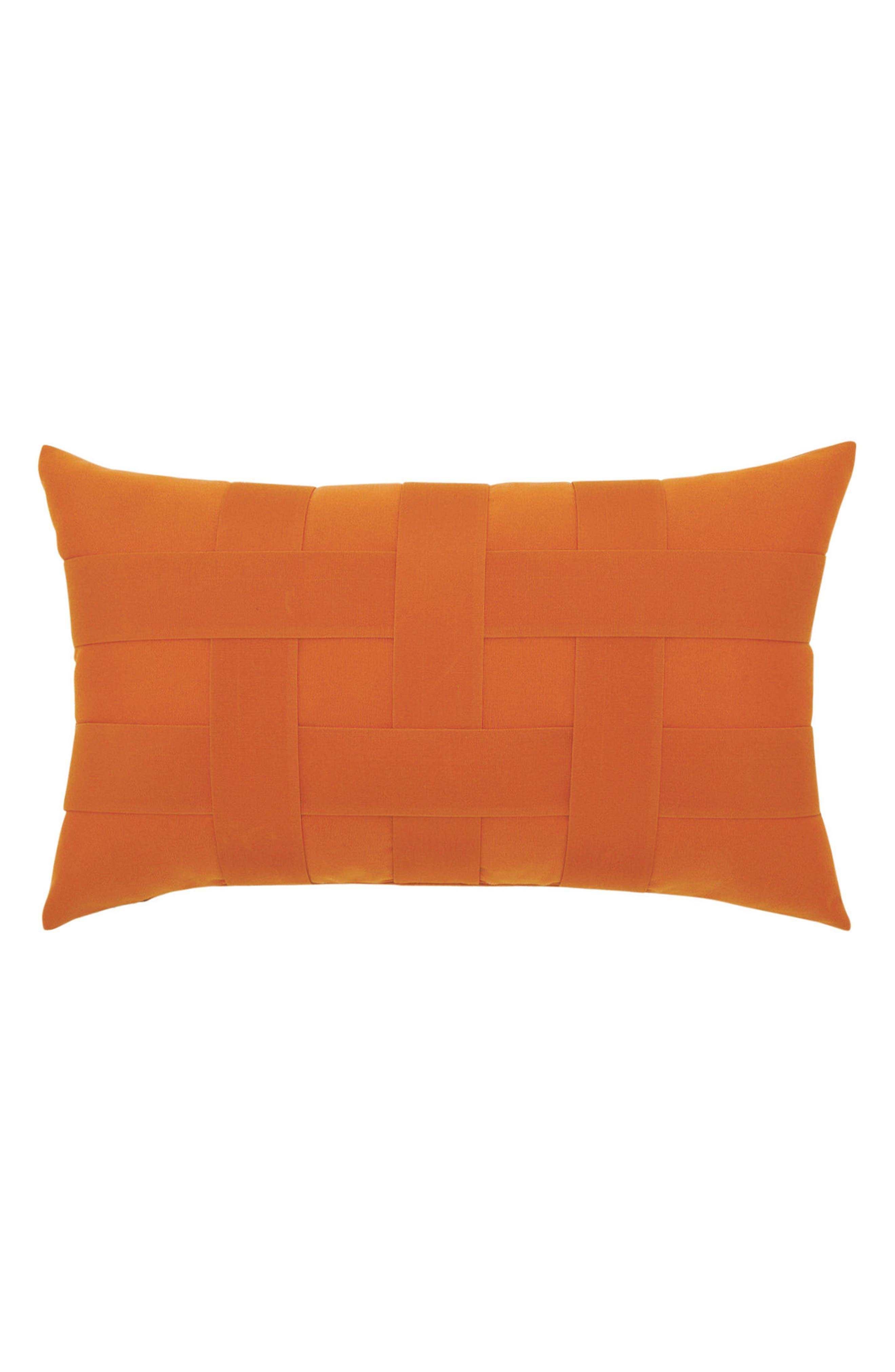 Basket Weave Indoor/Outdoor Accent Pillow,                         Main,                         color, Orange