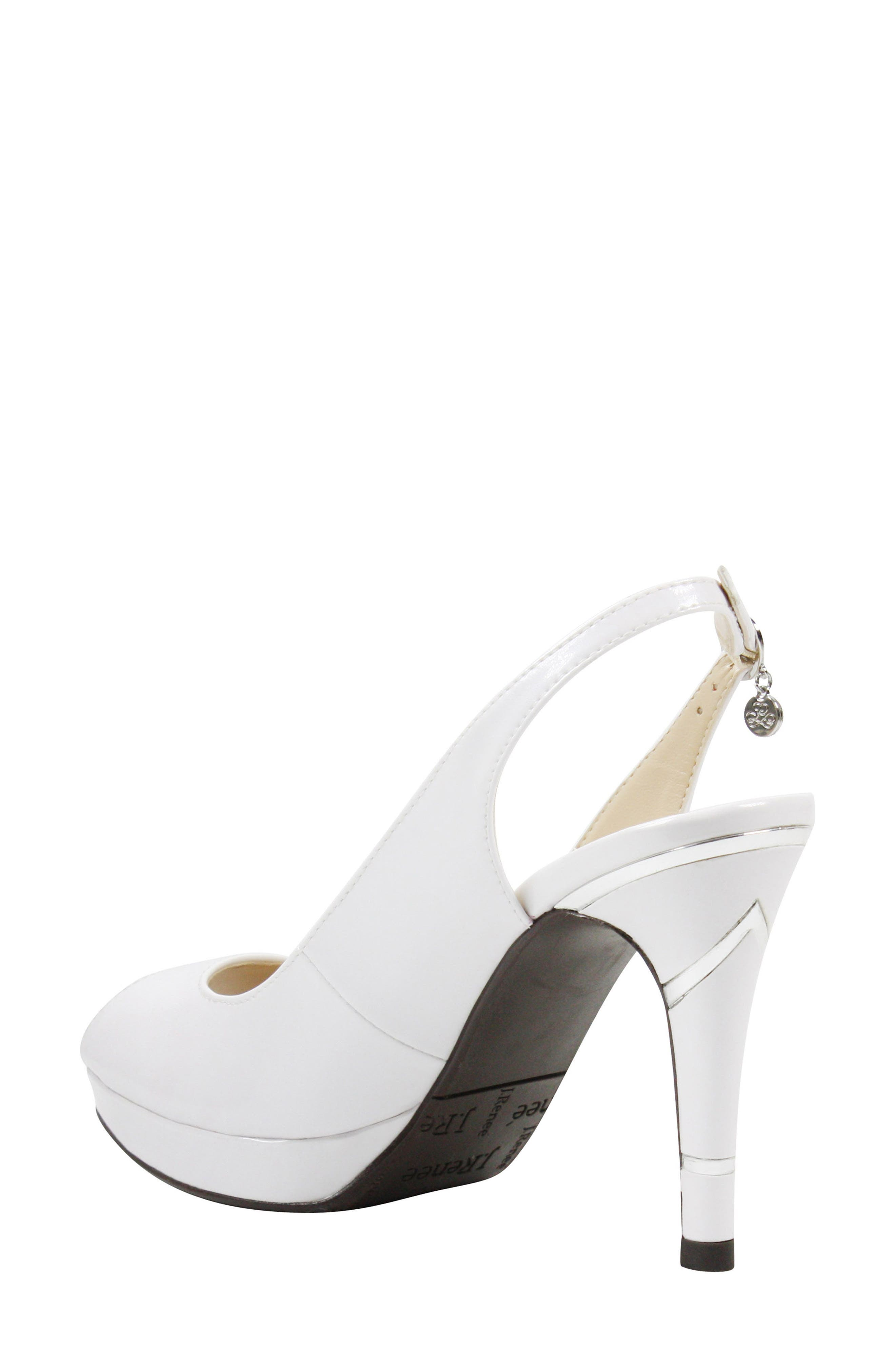 Onille Slingback Pump,                             Alternate thumbnail 2, color,                             Pearl White Faux Leather