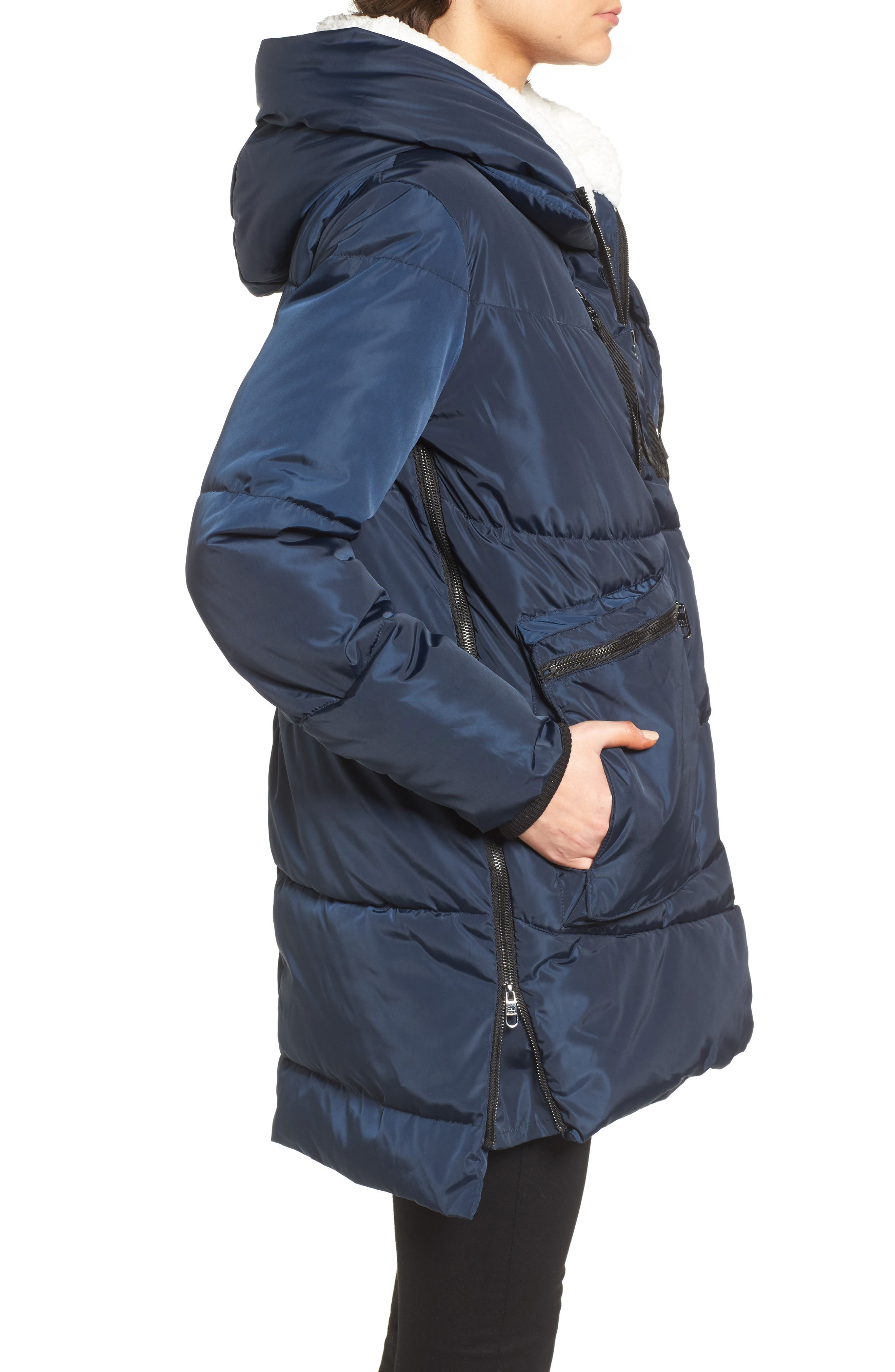 Alternate Image 3  - Steve Madden Hooded Puffer Jacket with Faux Shearling Trim