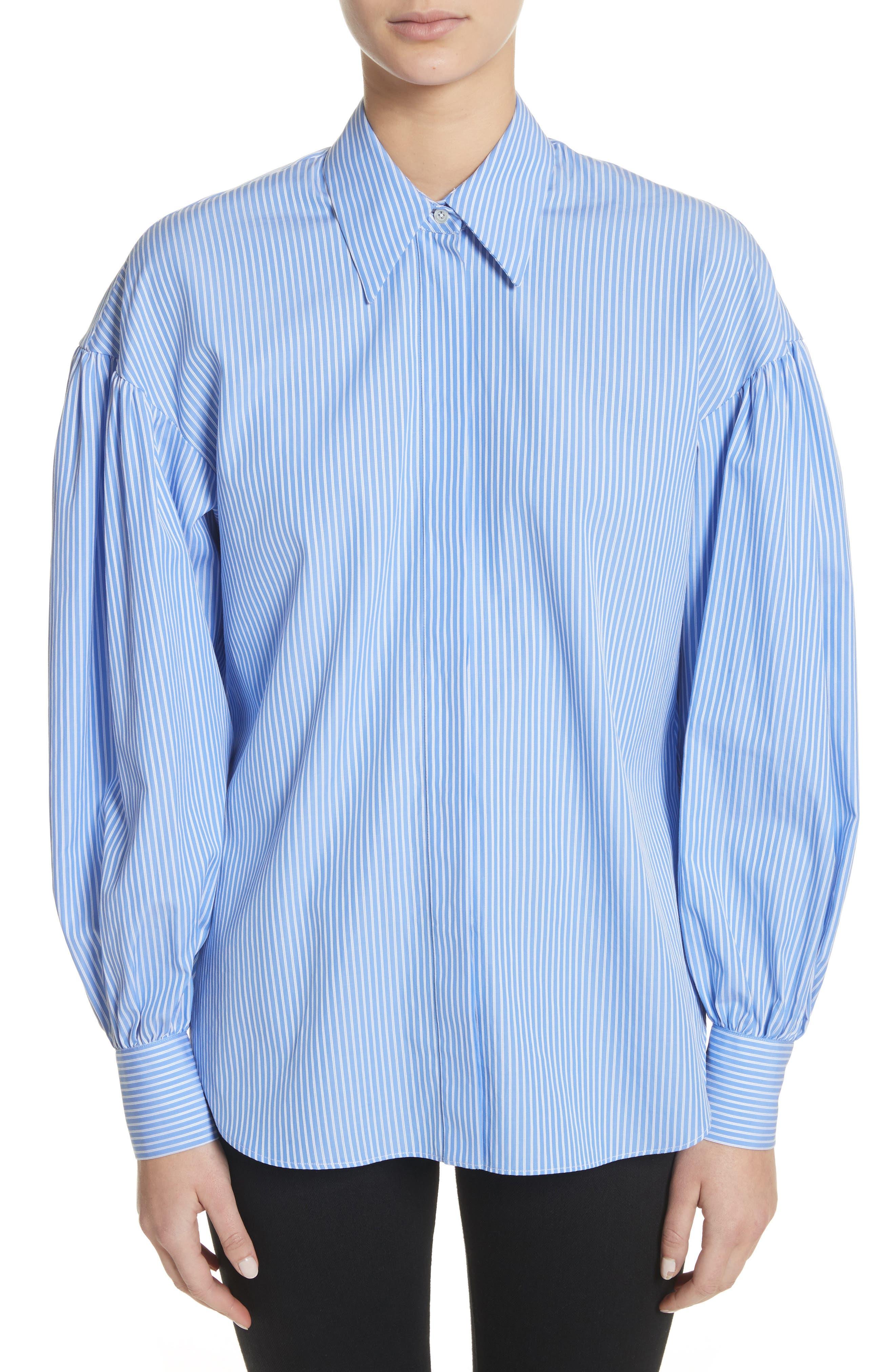 Stripe Puff Sleeve Shirt,                             Main thumbnail 1, color,                             Blue Stripe