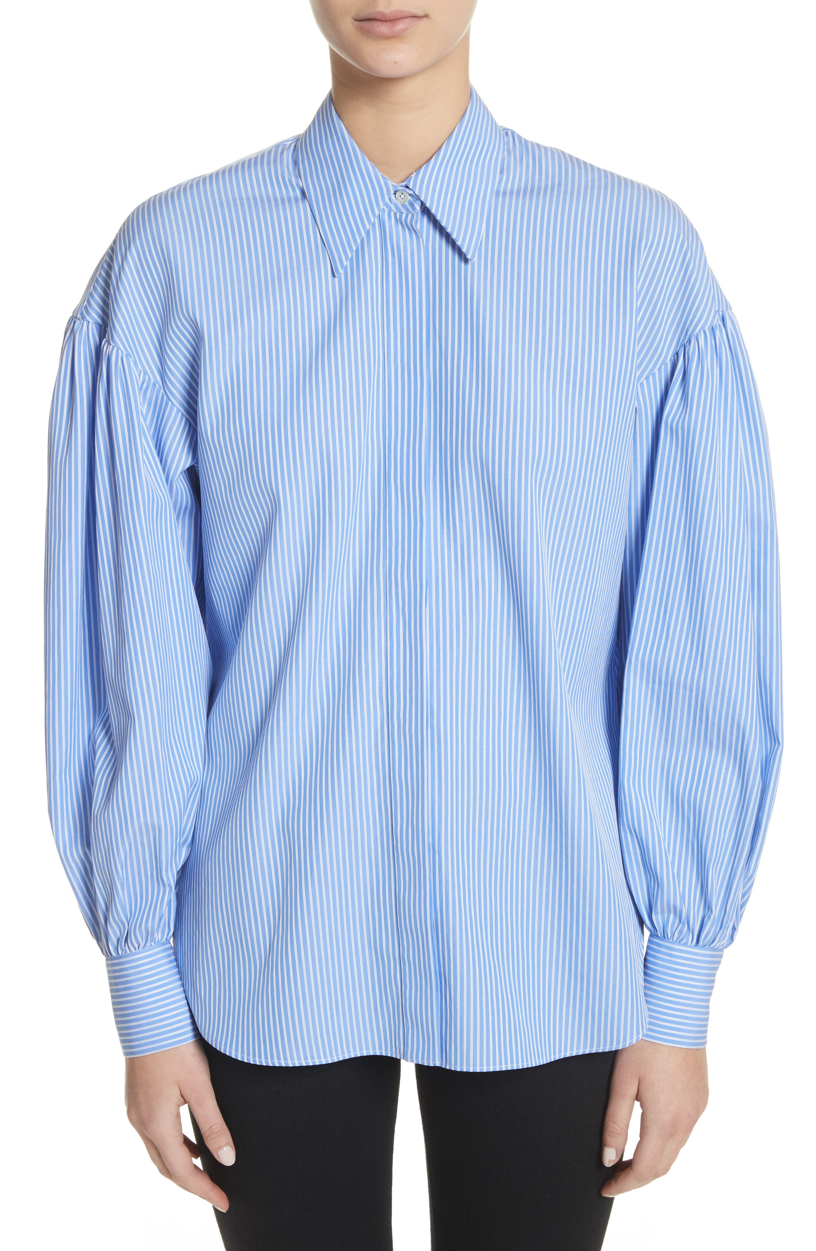 Stripe Puff Sleeve Shirt,                         Main,                         color, Blue Stripe