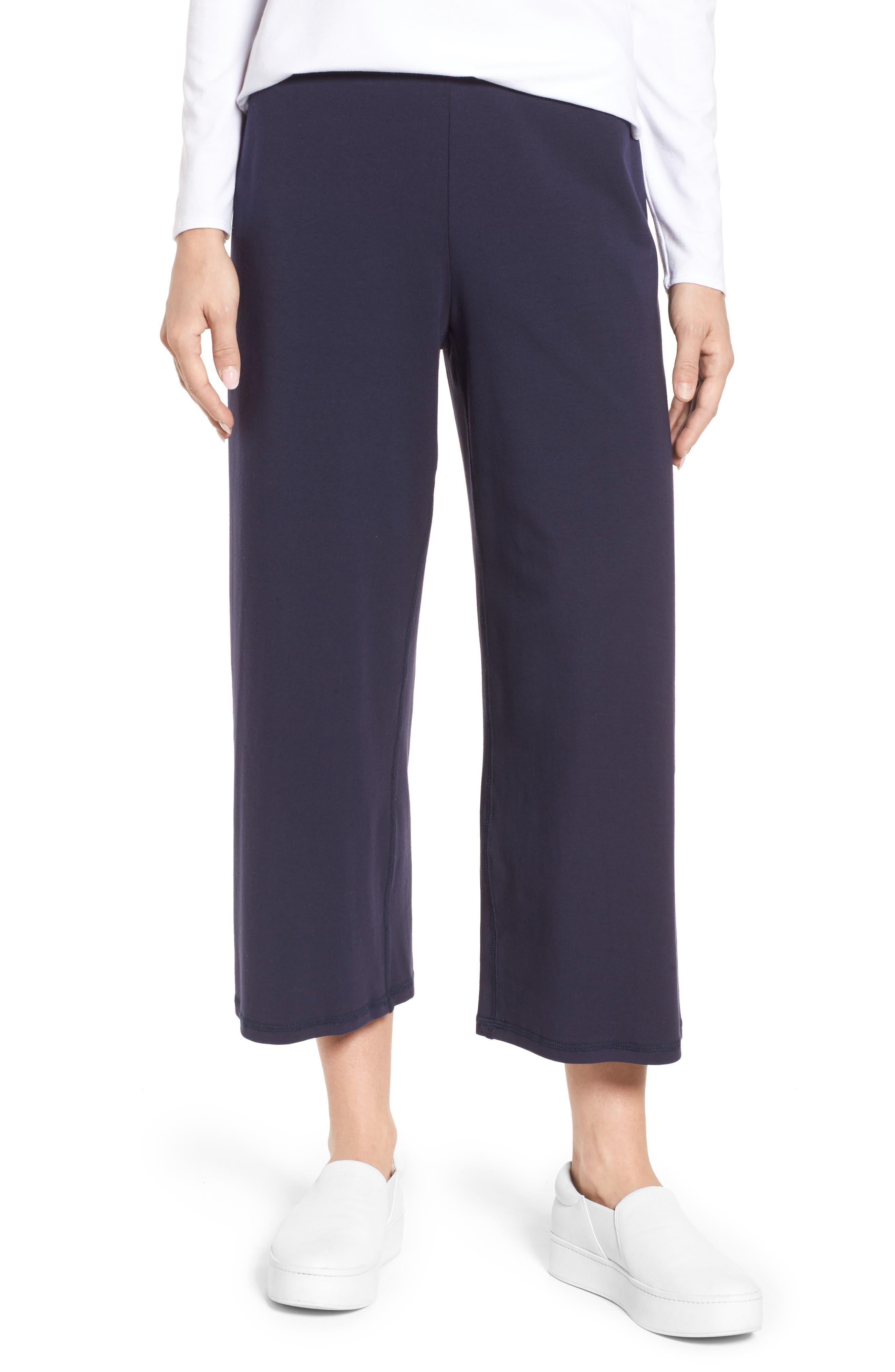 Stretch Organic Cotton Crop Pants,                         Main,                         color, Midnight