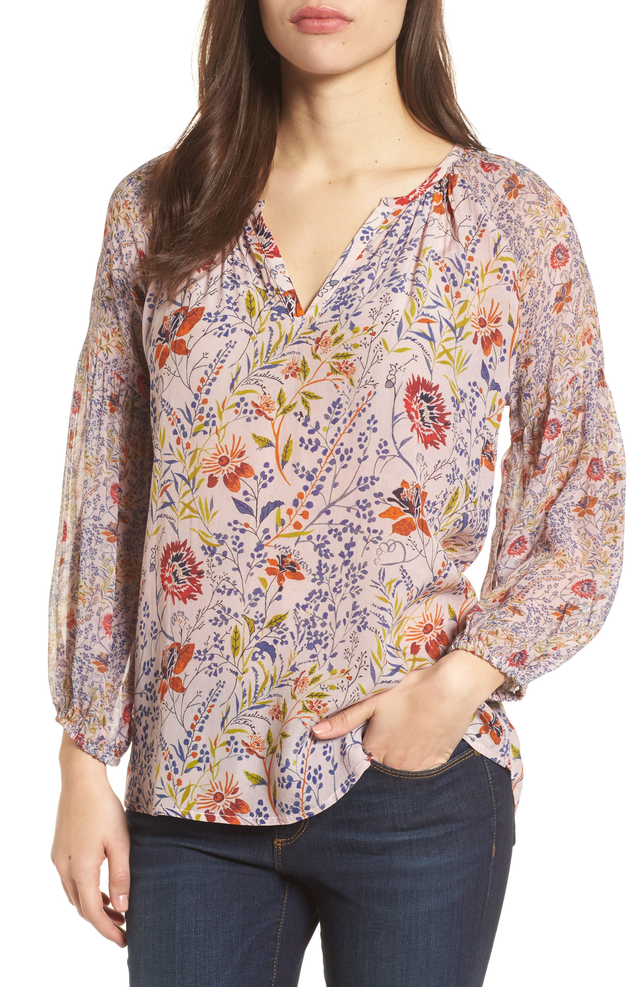 Velvet by Graham & Spencer Floral Print Peasant Sleeve Blouse