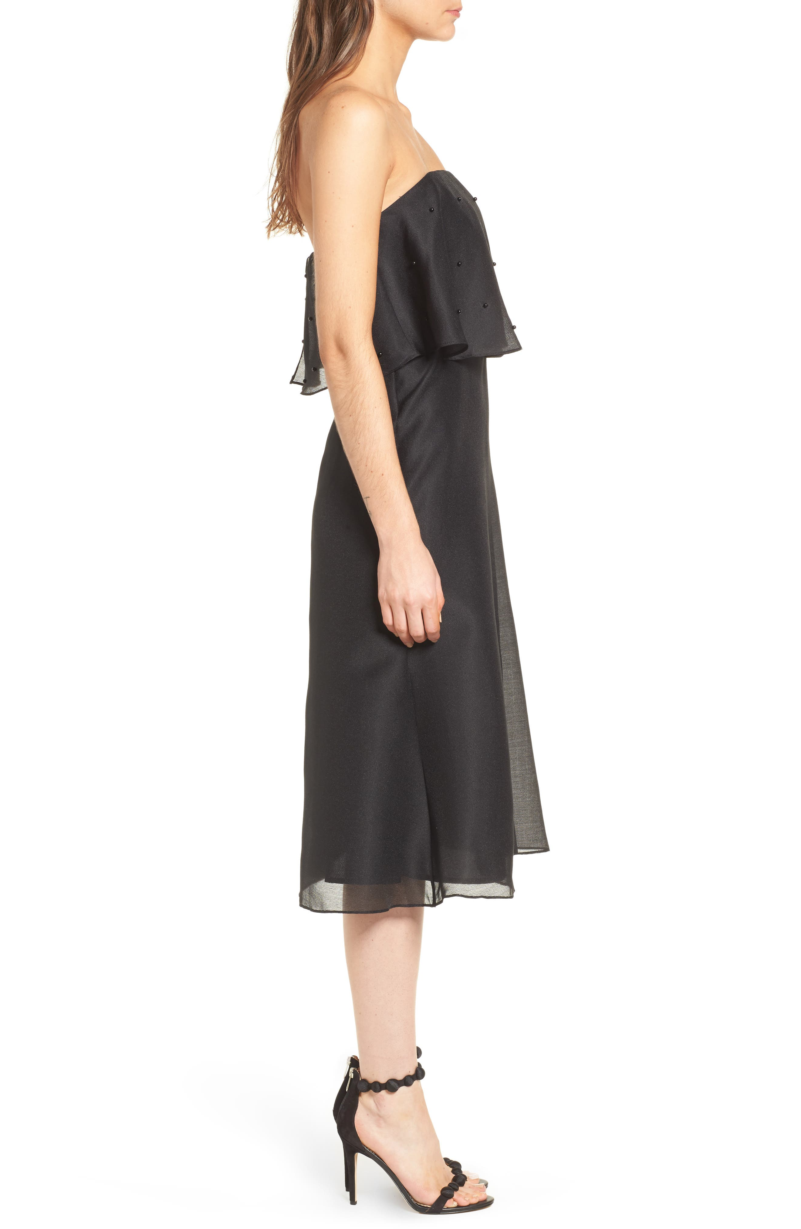 Call Me Strapless Dress,                             Alternate thumbnail 4, color,                             Black