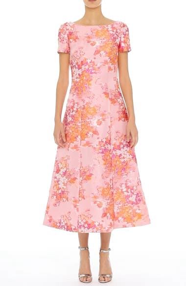 St. John Collection Washed Bouquet Jacquard Dress