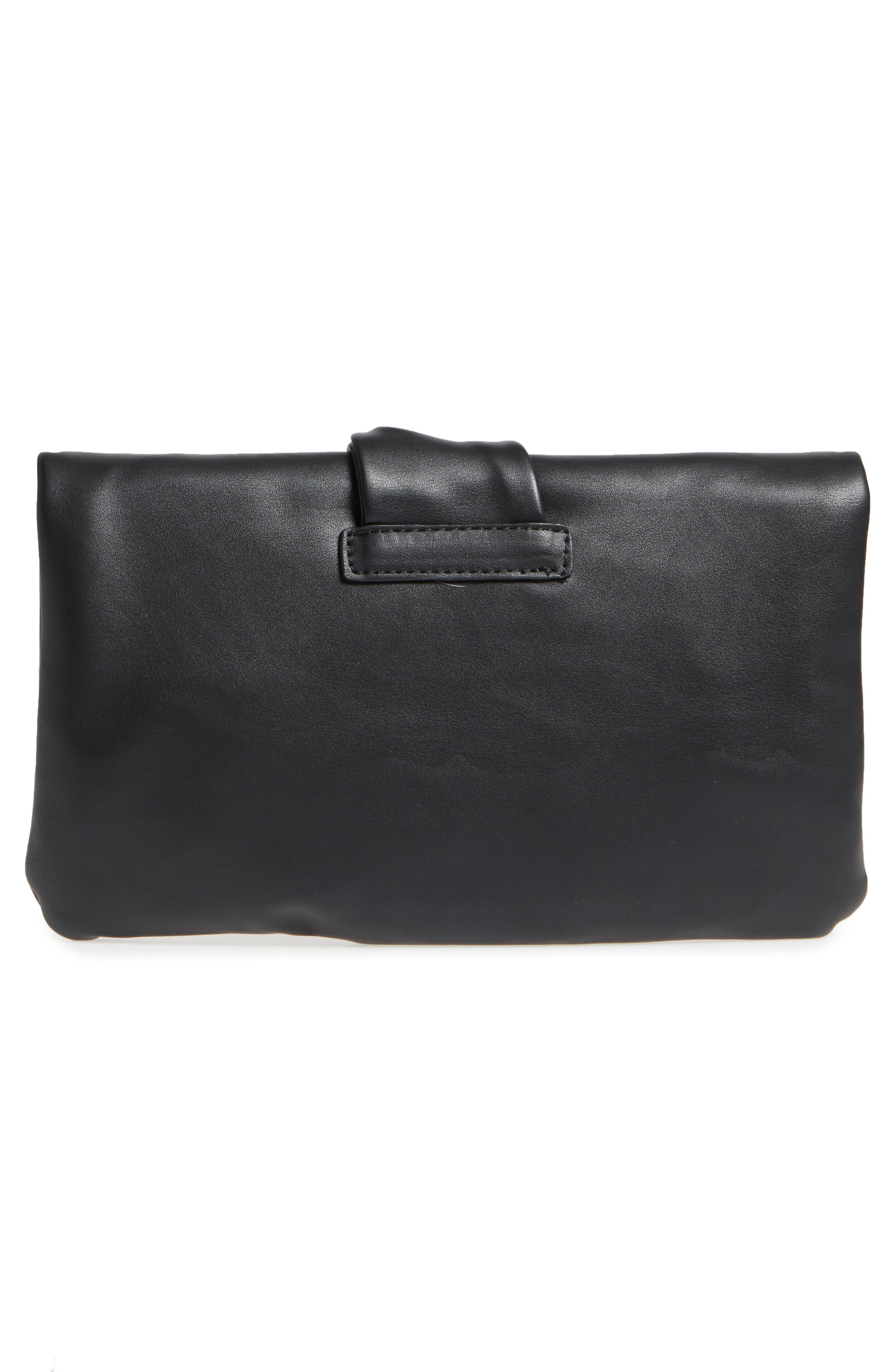 Lenore Foldover Faux Leather Clutch,                             Alternate thumbnail 3, color,                             Black
