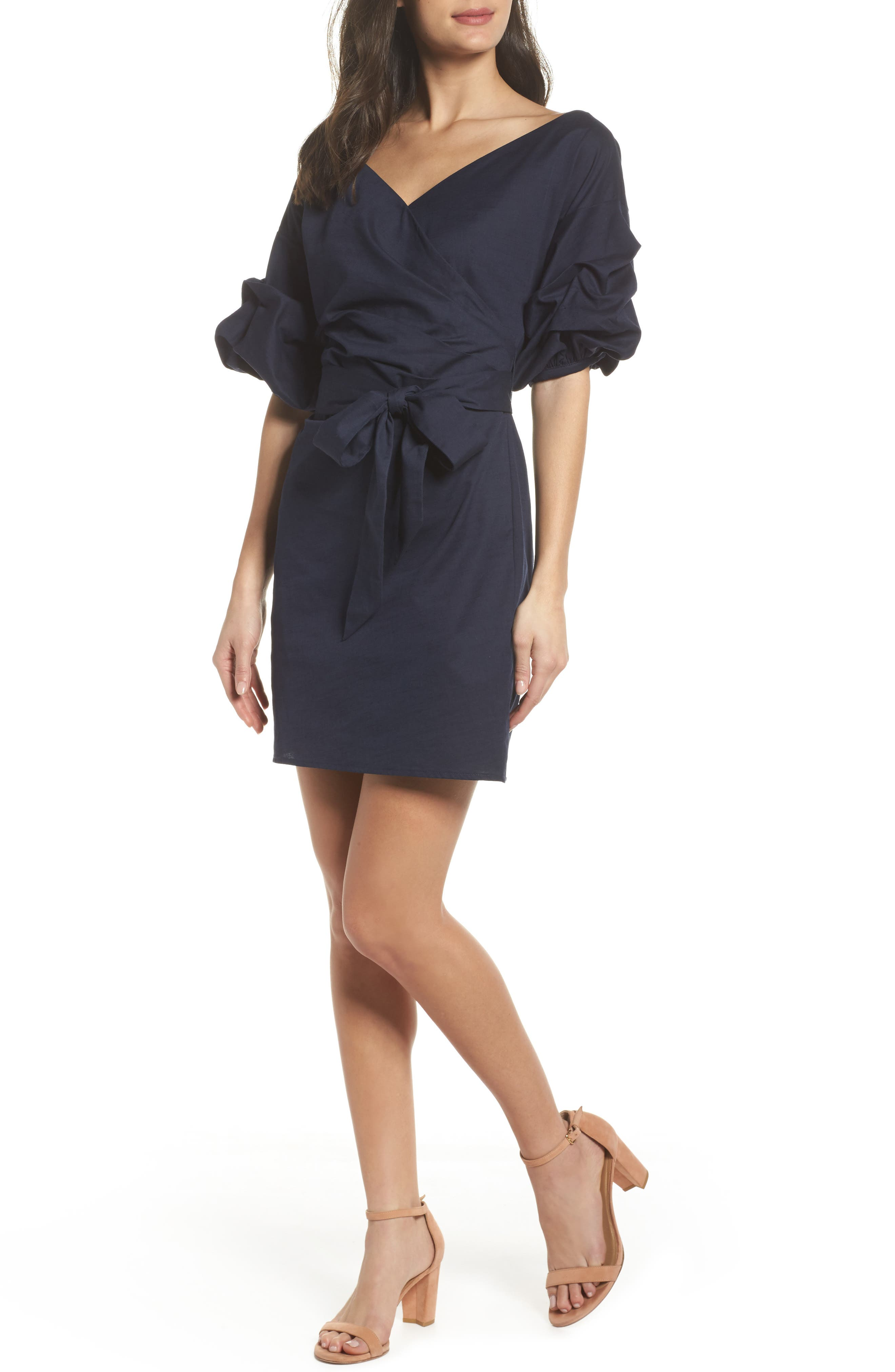 Billow Sleeve Dress,                             Main thumbnail 1, color,                             Navy Sapphire
