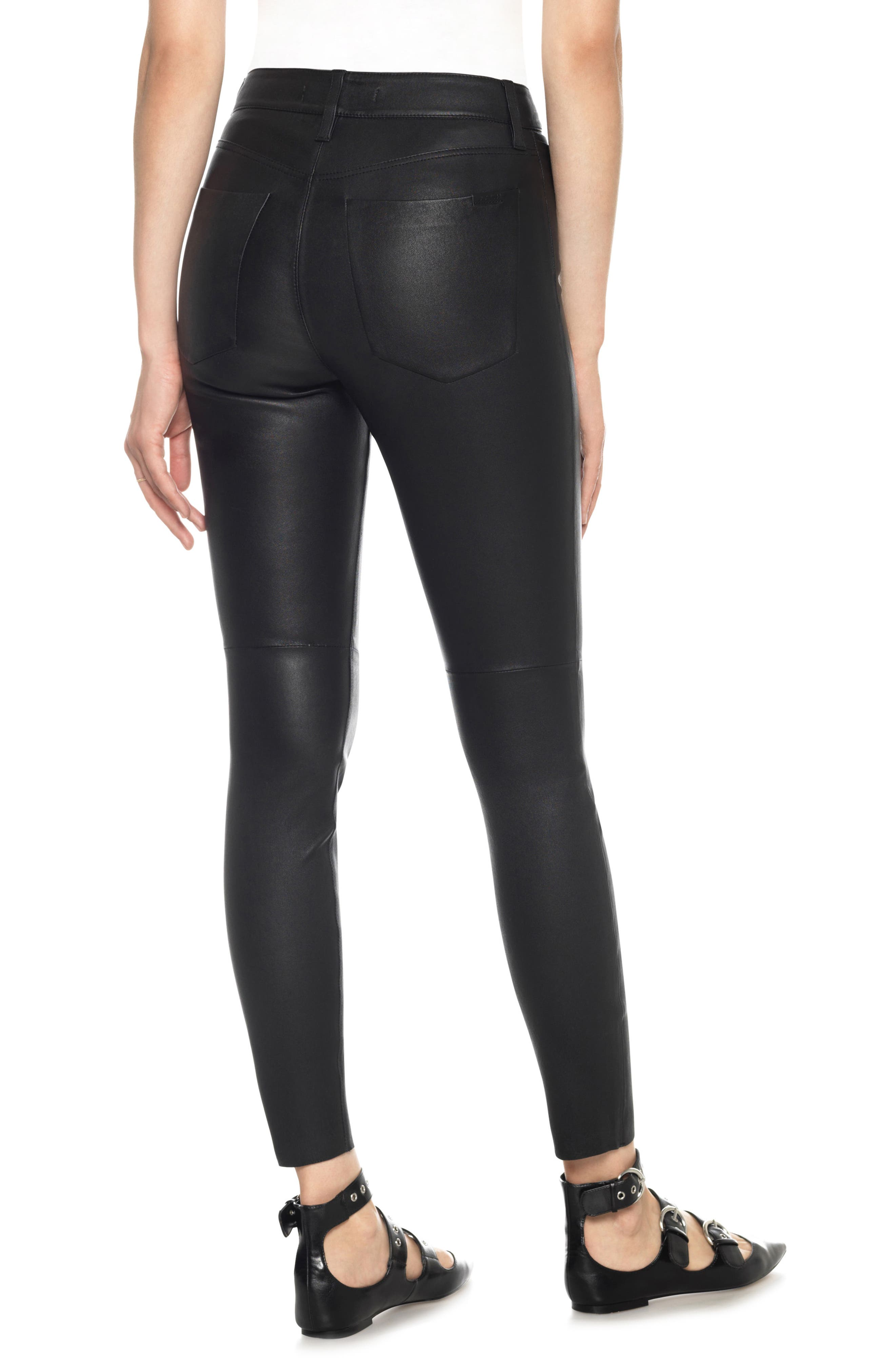 Charlie High Waist Ankle Skinny Leather Jeans,                             Alternate thumbnail 2, color,                             Veruca