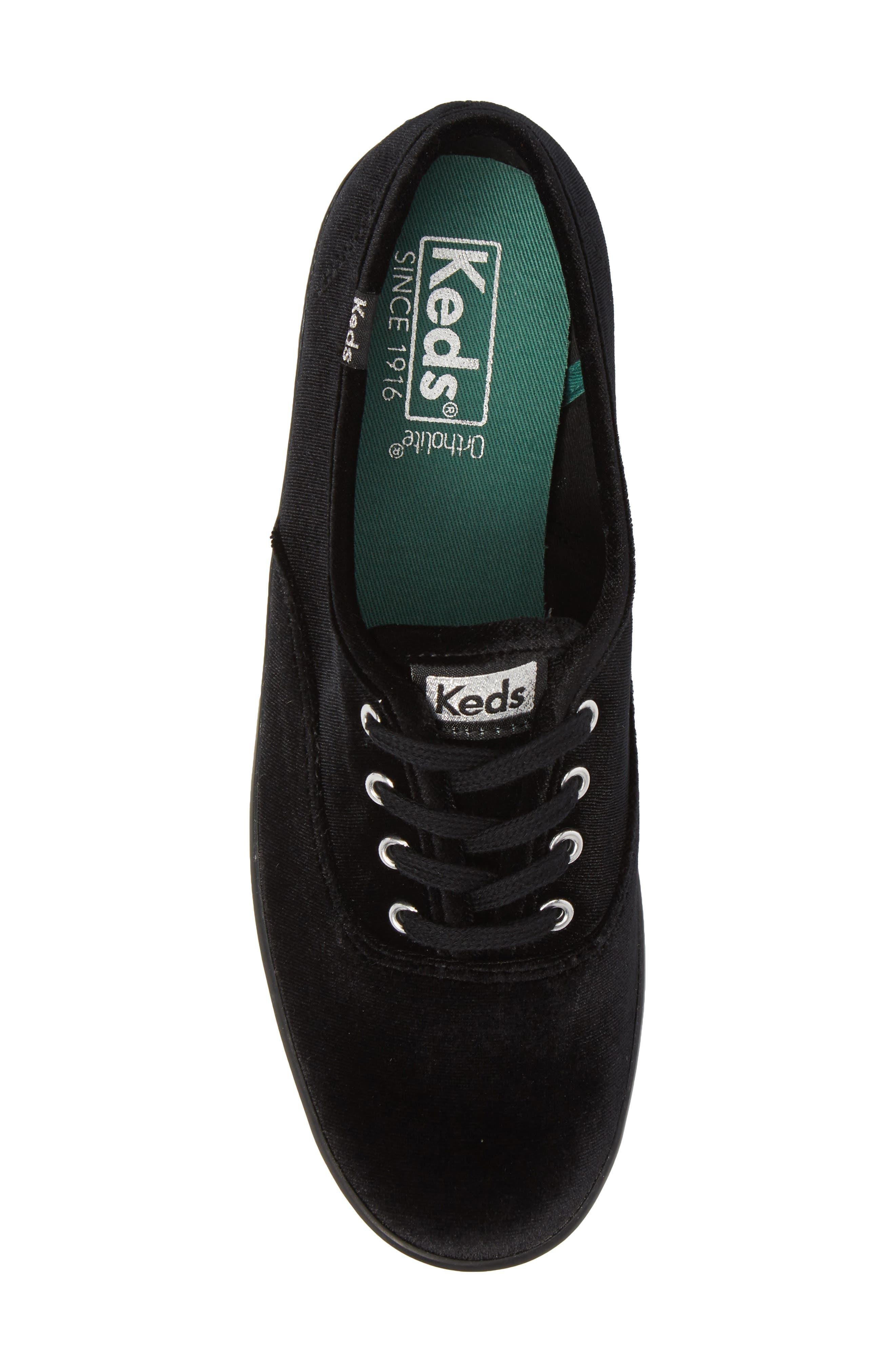 Champion Velvet Sneaker,                             Alternate thumbnail 5, color,                             Black