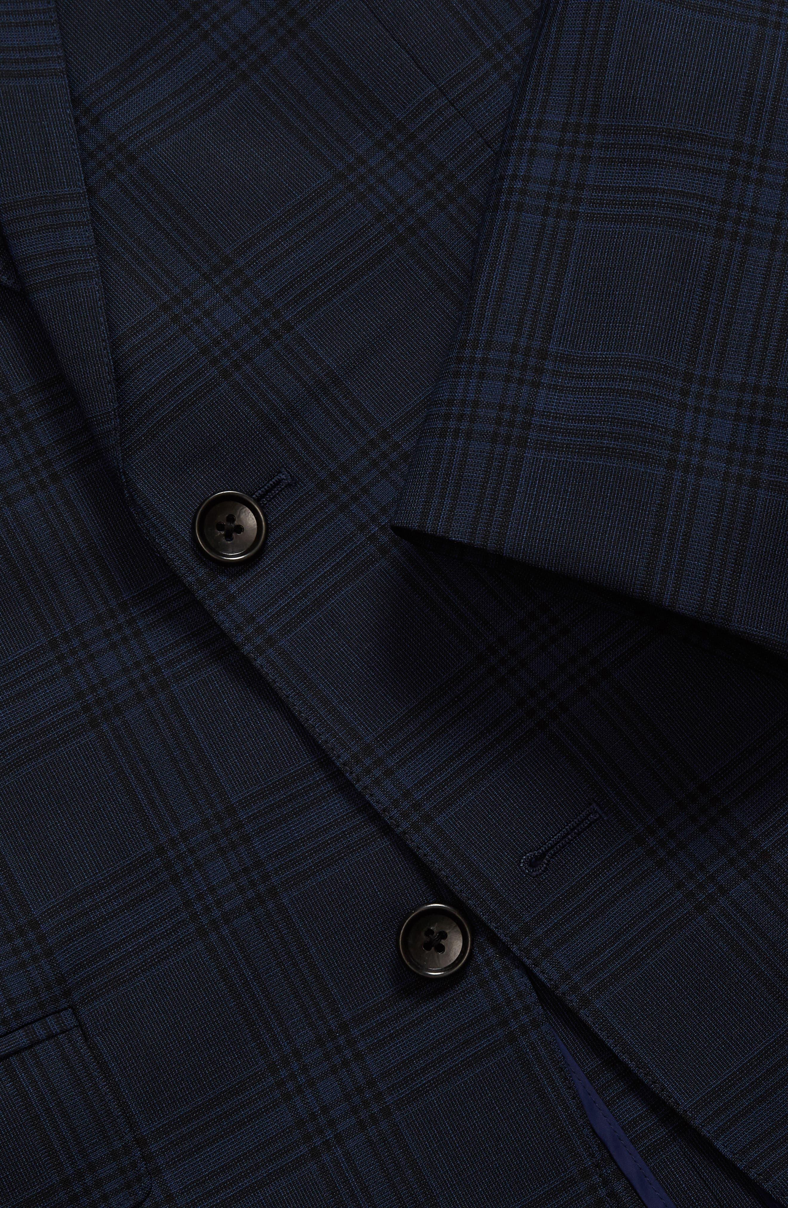 Jetsetter Trim Fit Stretch Plaid Wool Blend Suit Jacket,                             Alternate thumbnail 3, color,                             Navy Plaid