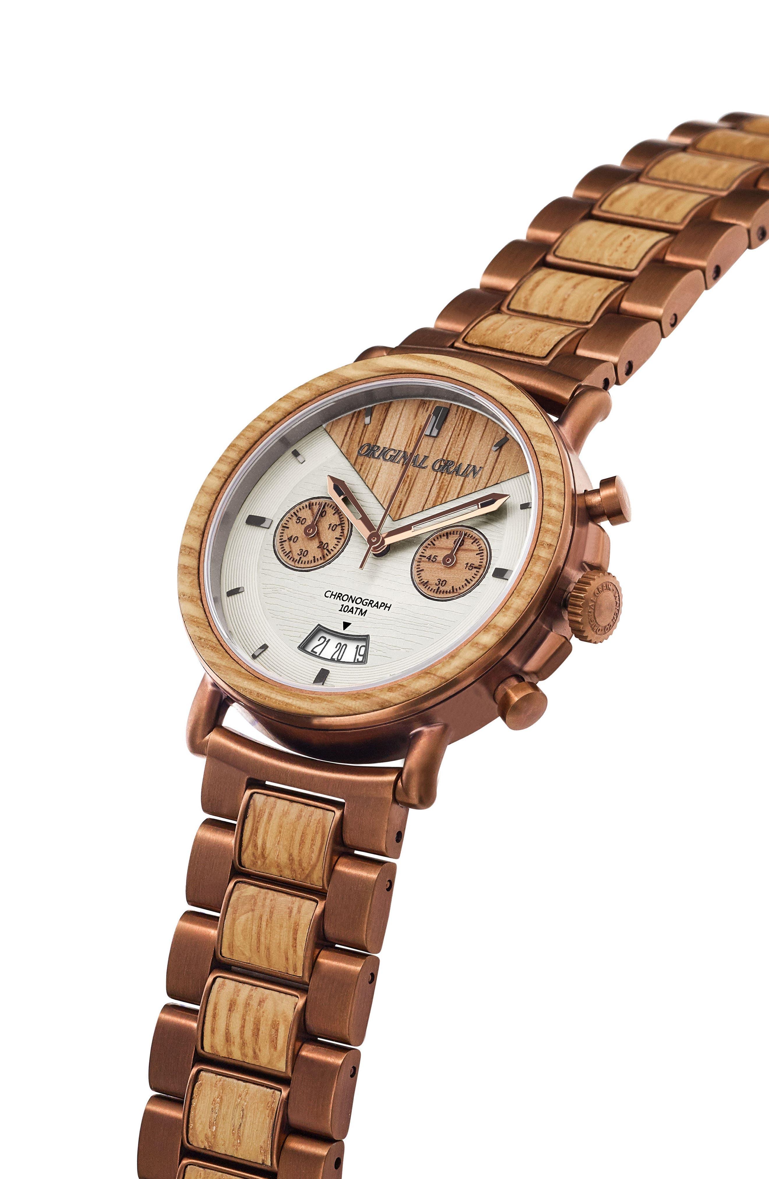 Alternate Image 3  - Original Grain Alterra Chronograph Bracelet Watch, 44mm