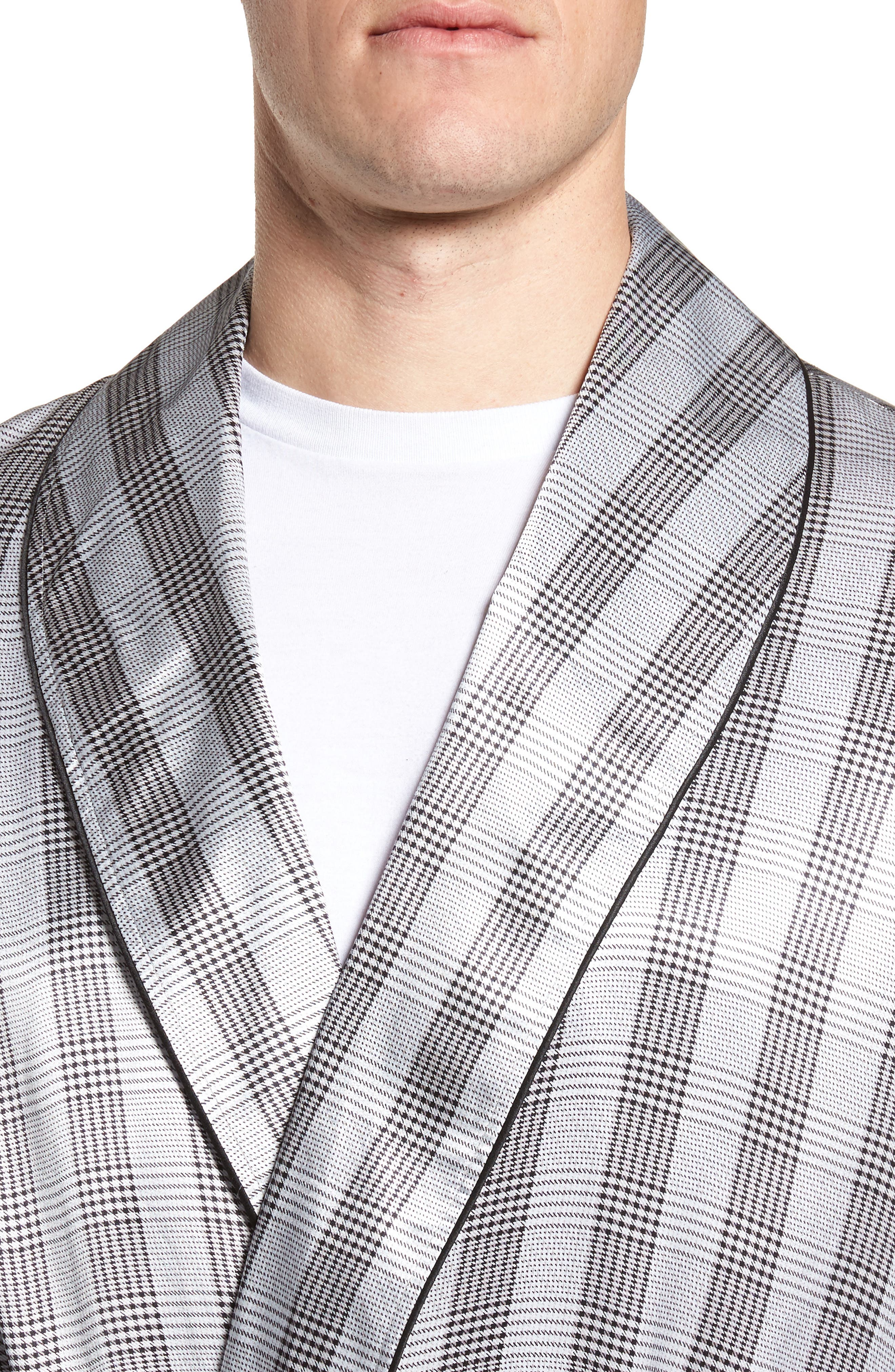 Silk Robe,                             Alternate thumbnail 4, color,                             Black/ Black Piping