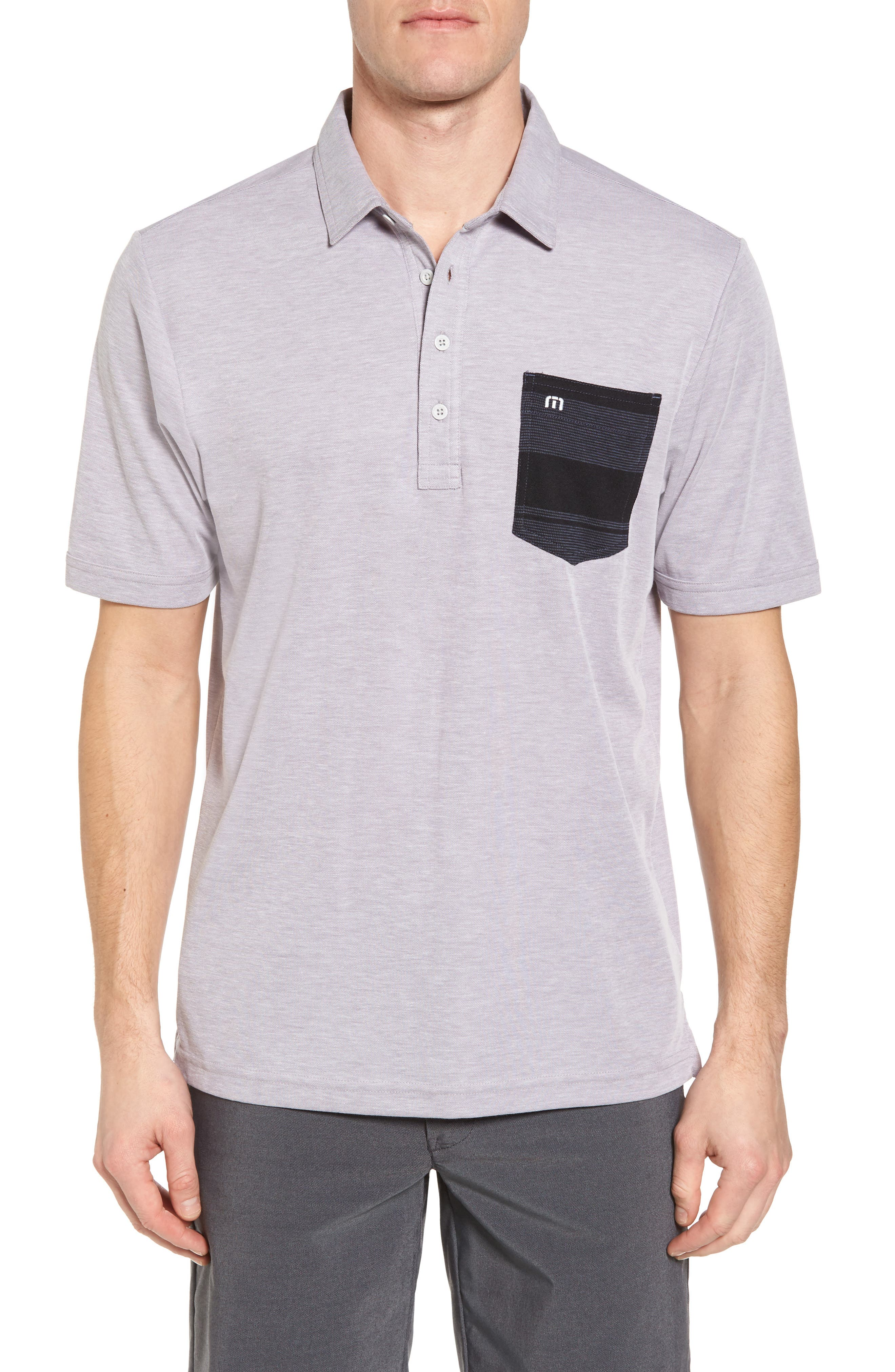 Ridgeway Contrast Pocket Polo,                         Main,                         color, Heather Grey