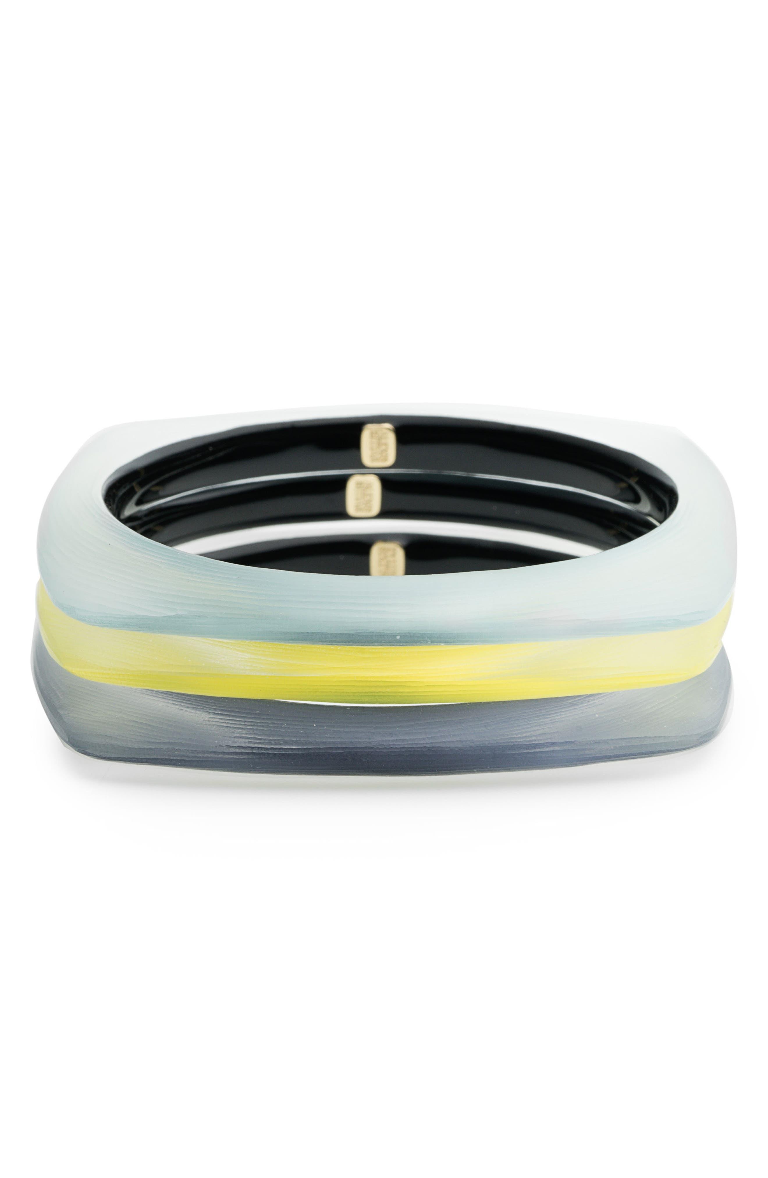 Set of 3 Square Lucite<sup>®</sup> Bangle Bracelets,                         Main,                         color, Ocean/ Grey/ Titanium Yellow