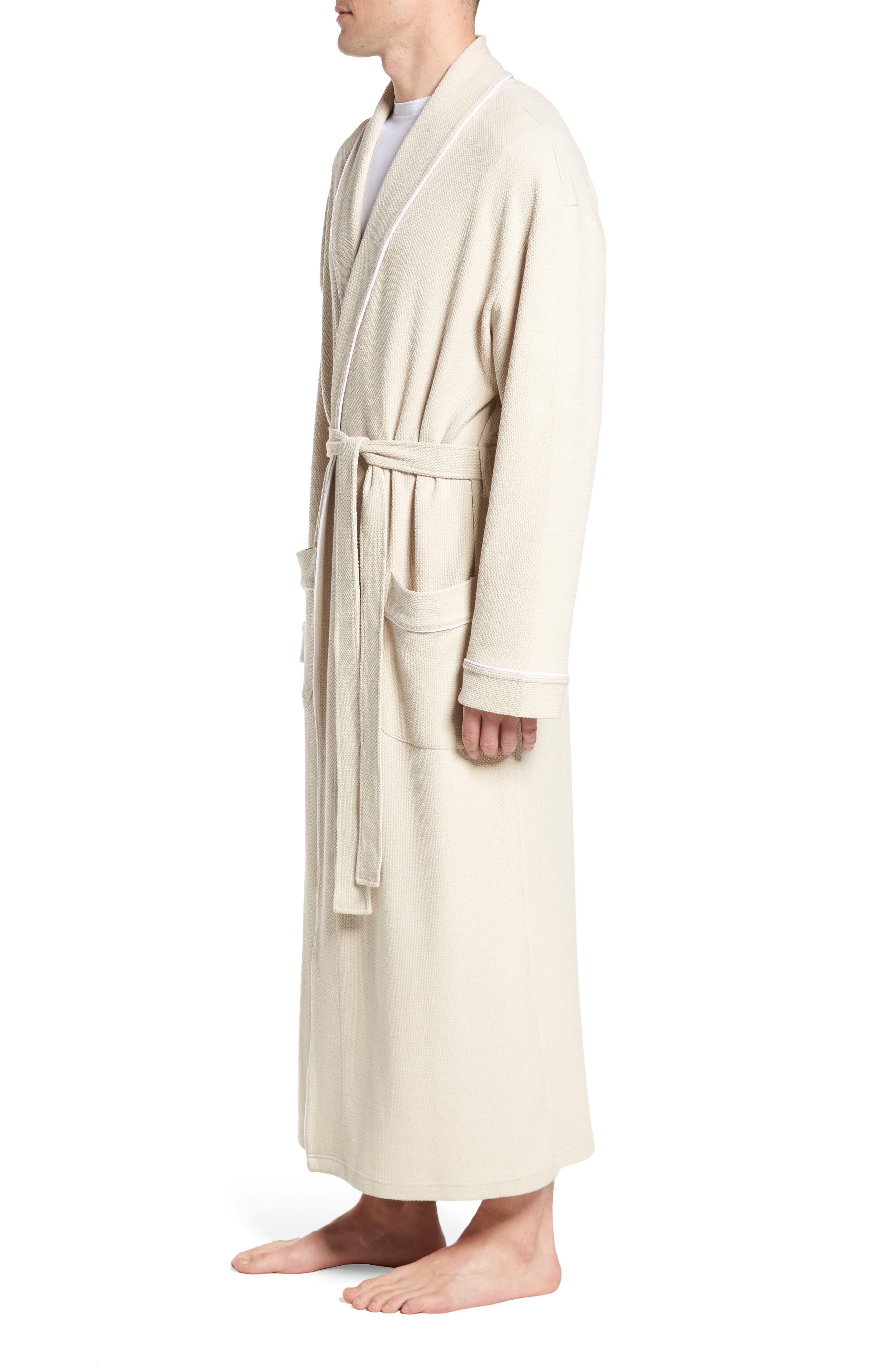 Belize Cotton Blend Robe,                             Alternate thumbnail 3, color,                             Ecru