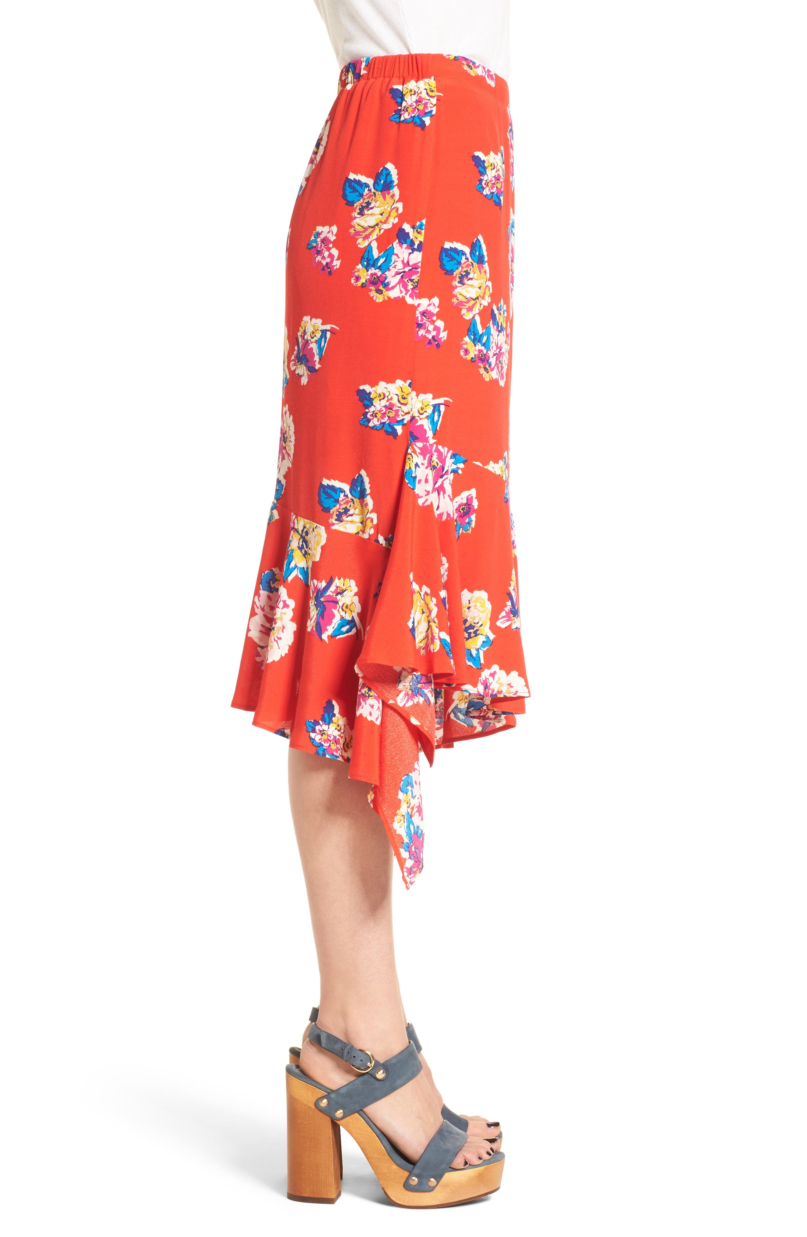 Floral Ruffle Hem Skirt,                             Alternate thumbnail 3, color,                             Red Field Bold Bloom